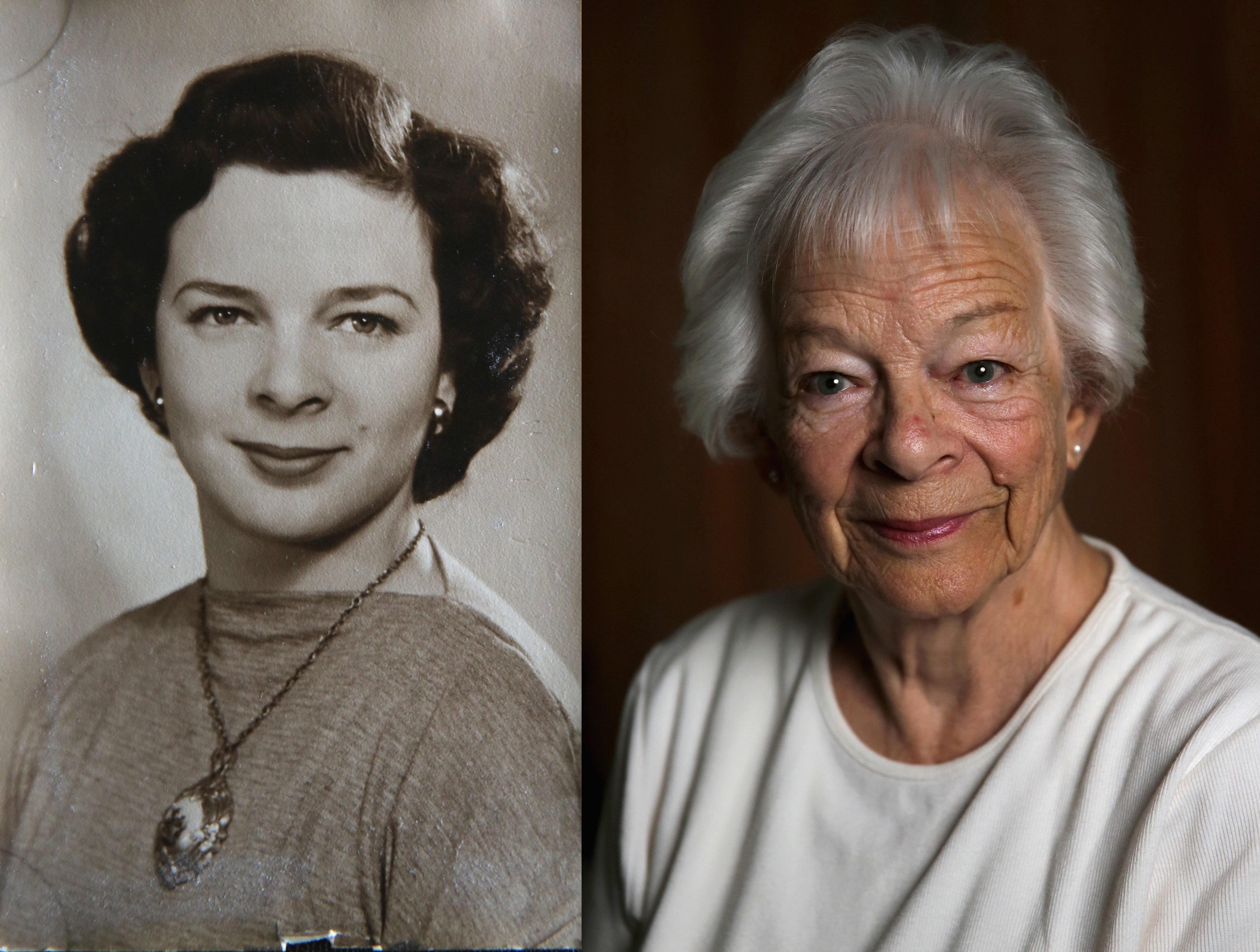 WWII civilian internee Mildred Tunbridge photographed in the 1940's on her arrival in Britain and at her home, age 90, on Aug. 6, 2015 in London.