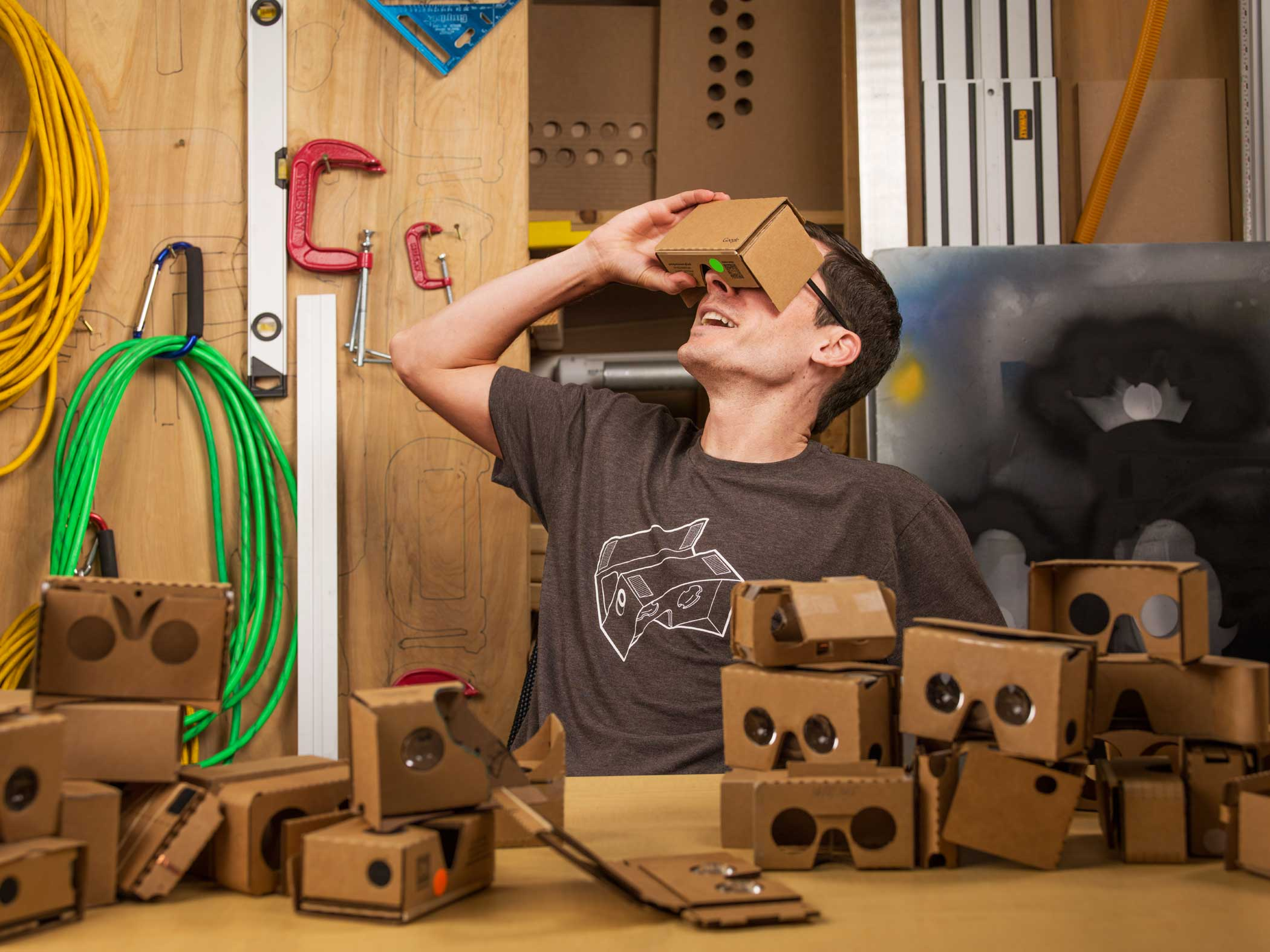 Clay Bavor, Vice President of Product Management at Google, wears a Google Cardboard headset at Google's headquarters in Mountain View, Calif. on June 24, 2015.