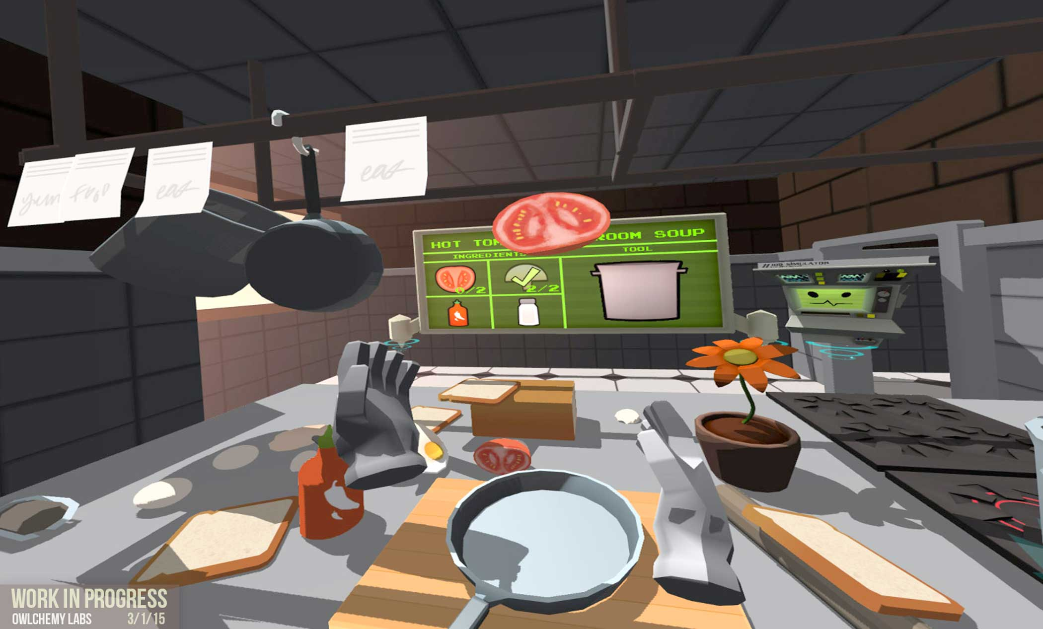 Alex Schwartz from Owlchemy Labs, juggling tomatoes in their 'Job Simulator' game for the Vive.