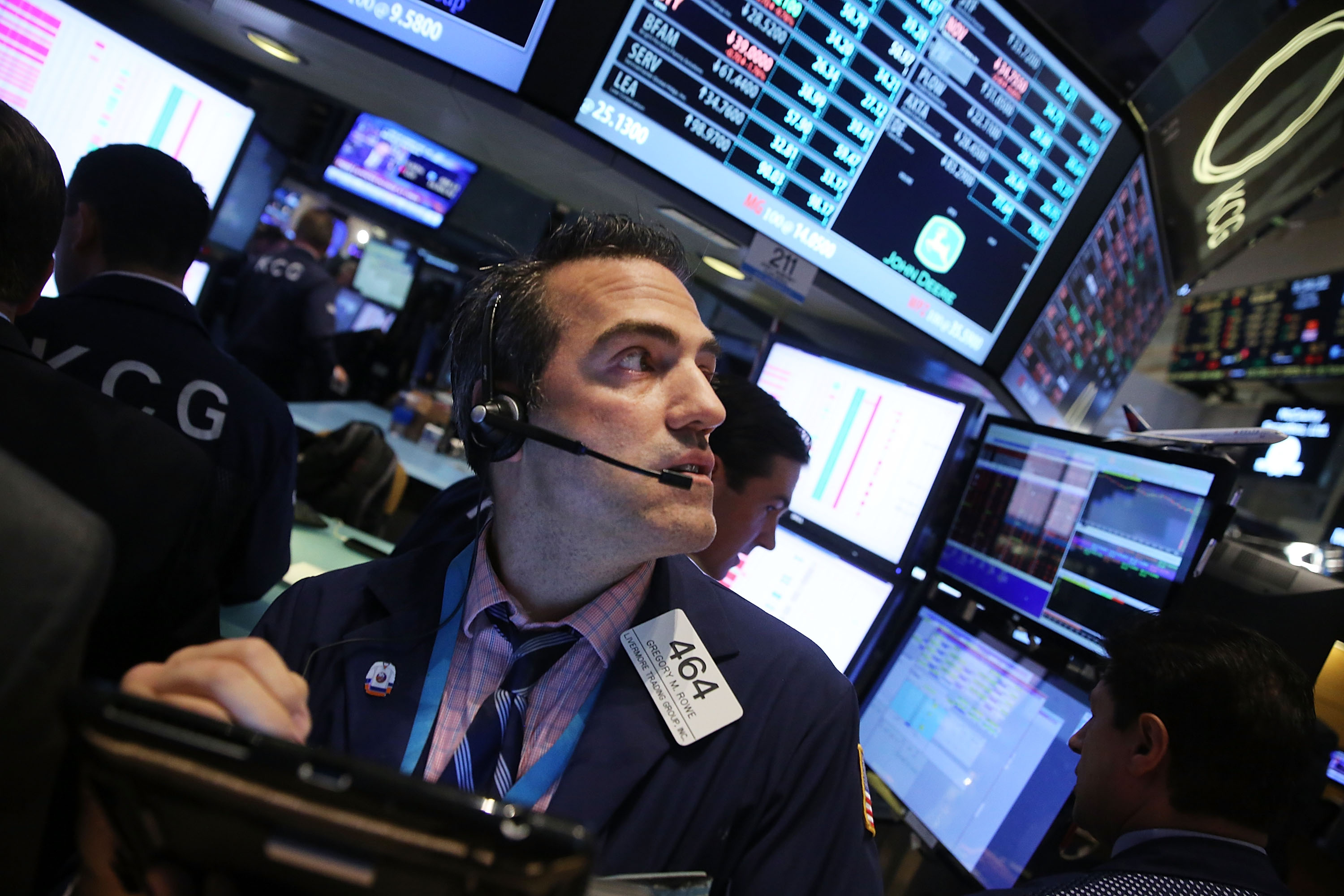 Traders work on the floor of the New York Stock Exchange (NYSE) on Aug. 24, 2015 in New York City.