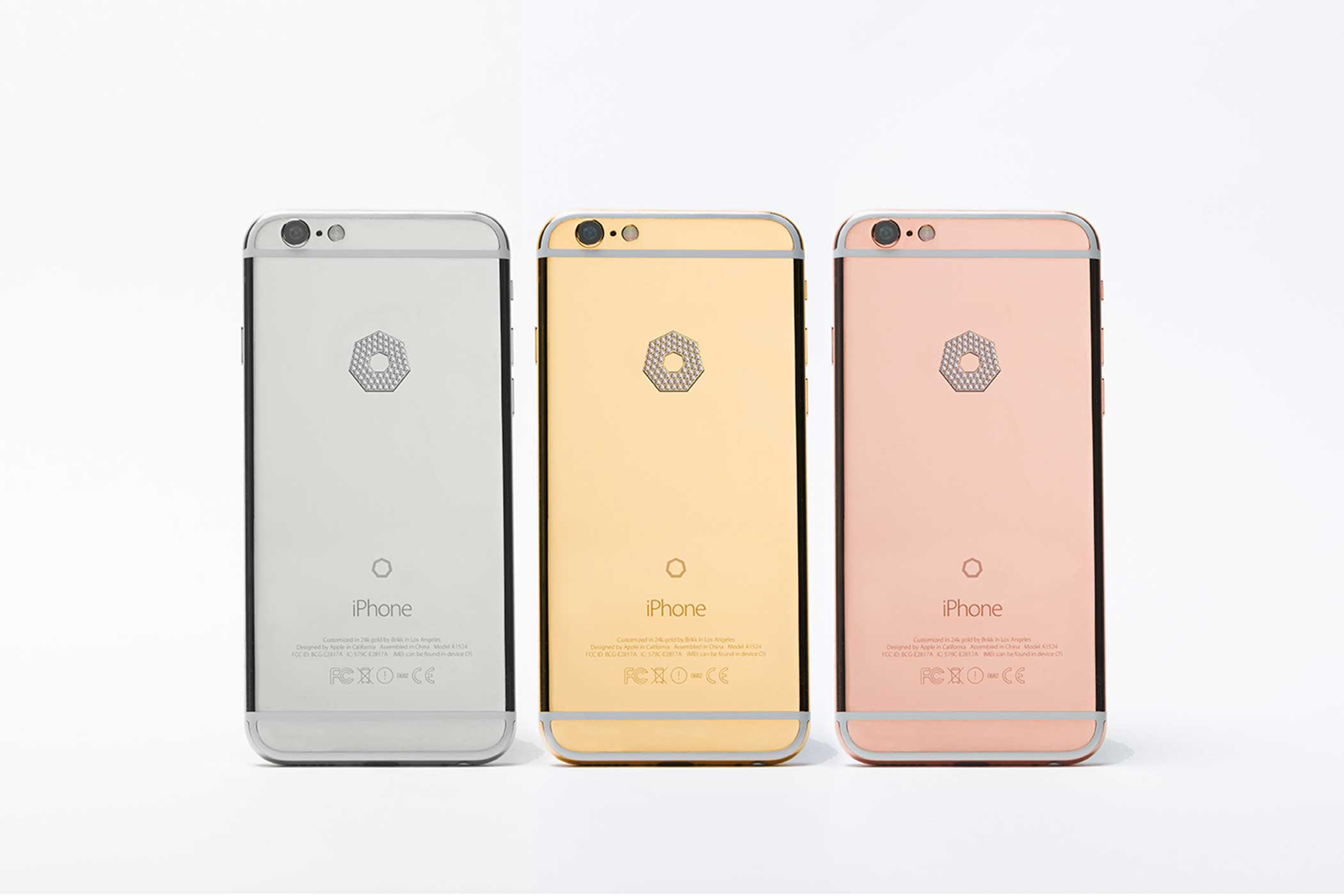 The Lux iPhone 6s with a large diamond logo — hand-polished and set with a microscope — come in platinum, yellow gold and pink gold. The 4.7  screen versions retail at $11,895 for yellow and pink gold, and $12,295 for platinum.