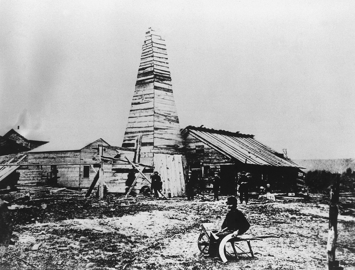This is the well near Titusville, Penn., that pumped the petroleum industry into existence 100 years ago. The picture was taken four years after Col. Edwin L. Drake struck oil on Aug. 27, 1859.