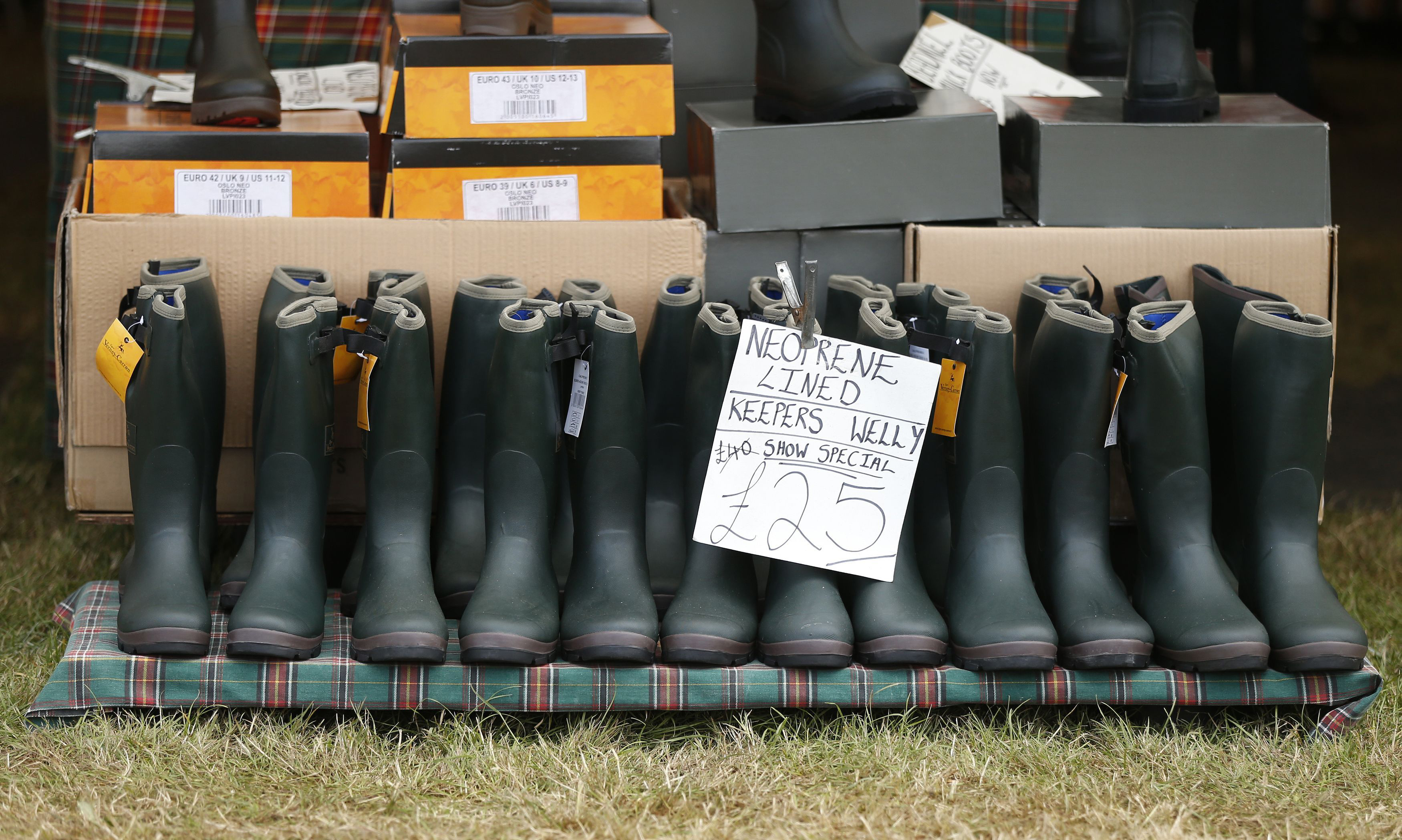 Wellington boots on sale during the Country Landowners' Association Gamefair at Harewood House, West Yorkshire, England on July 31, 2015.