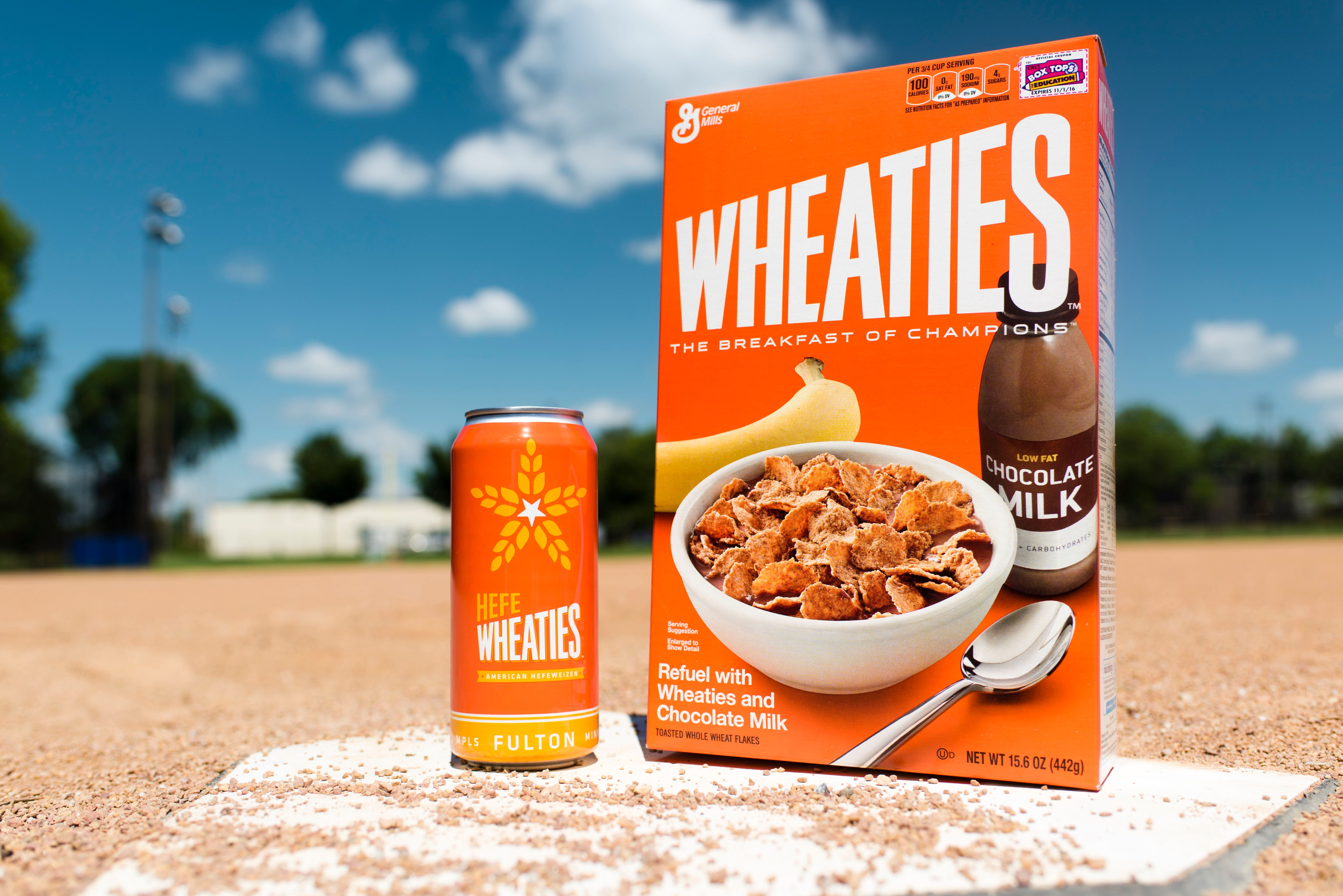 Box of Wheaties cereal and the limited-edition HefeWheaties beer.