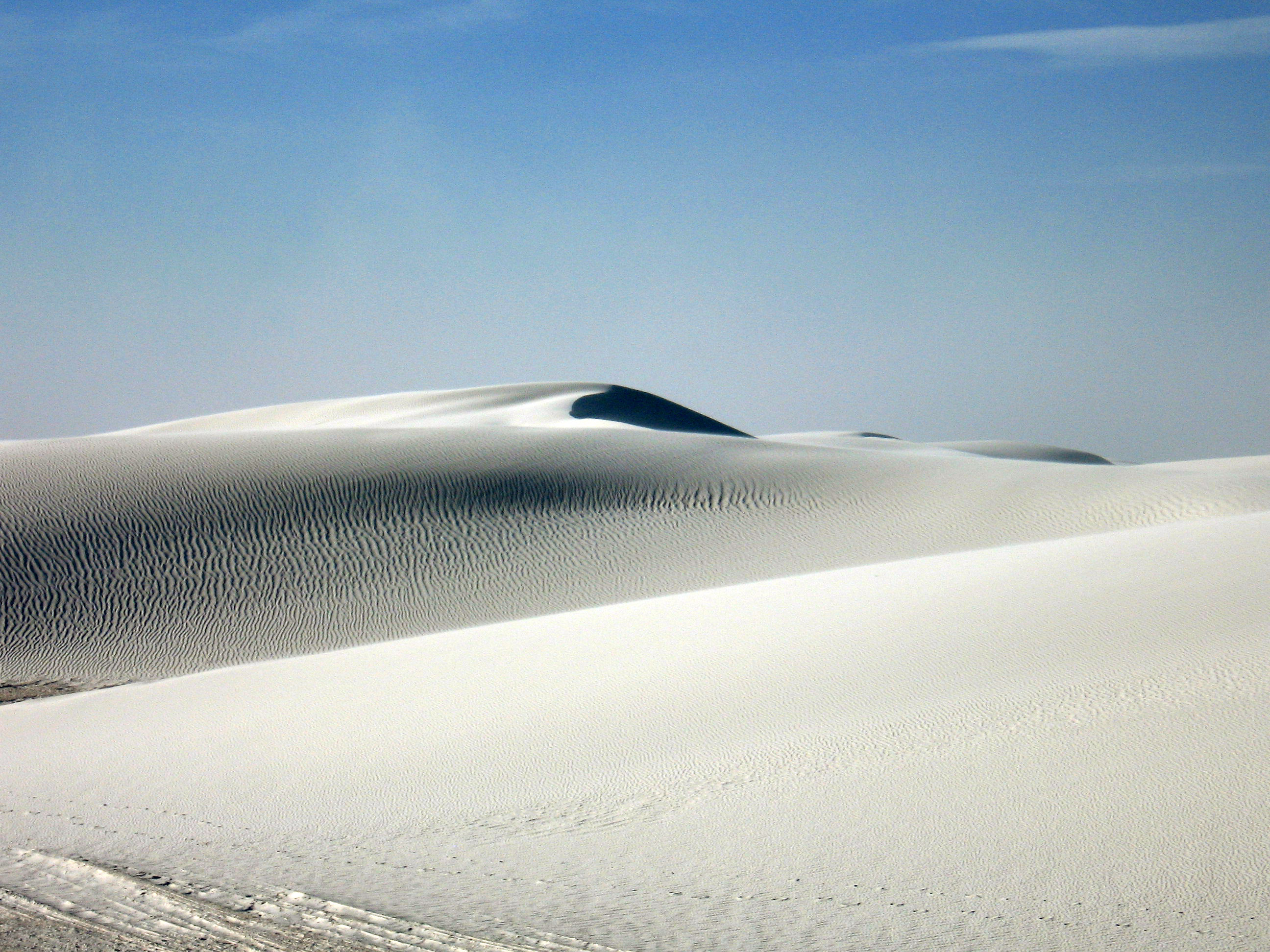 Contoured patterns in the endless white sand dunes at White Sands National Monument in New Mexico in March, 2014.