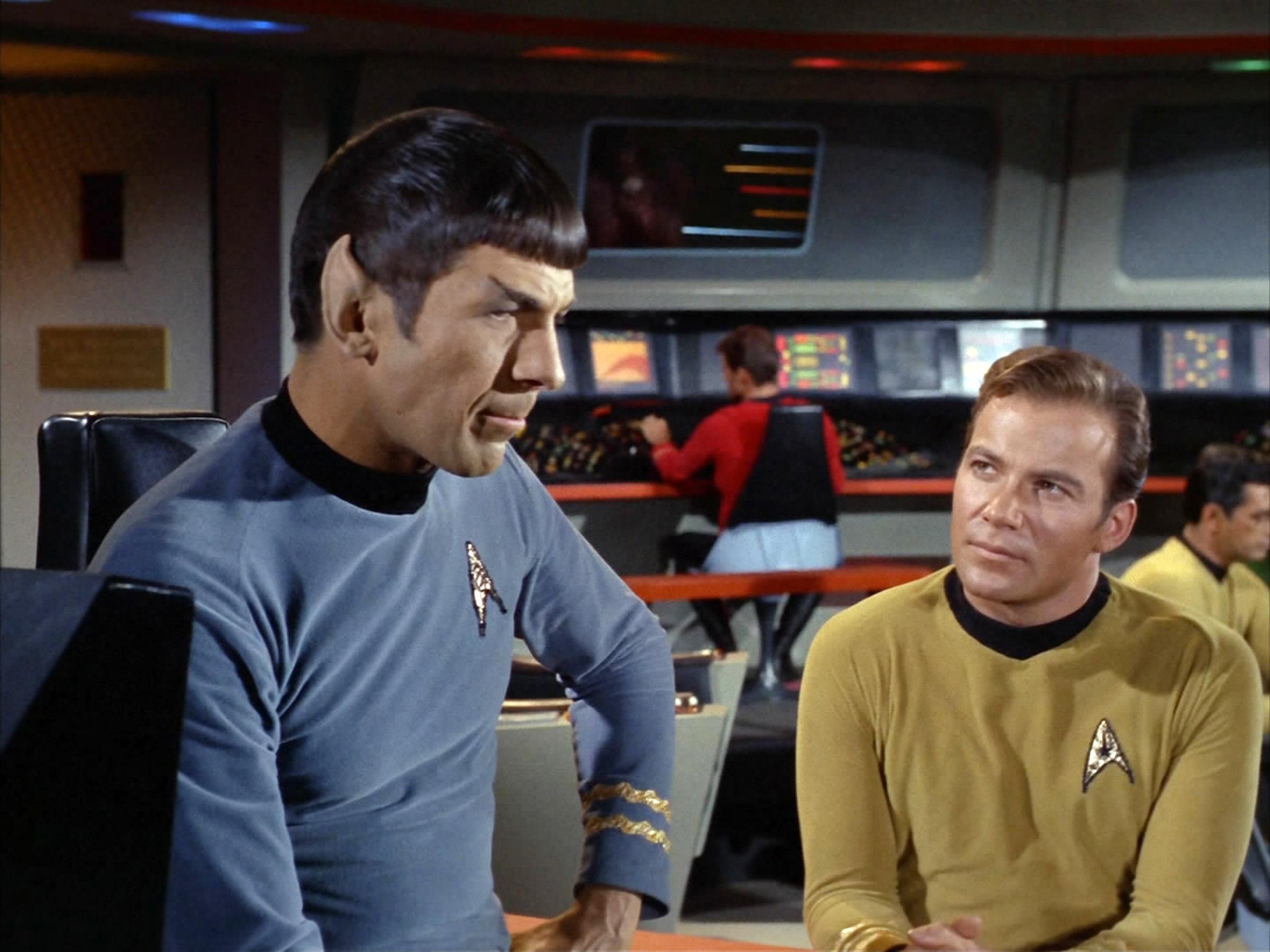 Leonard Nimoy as Commander Spock and William Shatner as Captain James T. Kirk on the bridge of the USS Enterprise on Star Trek: The Original Series on Feb. 16, 1967.