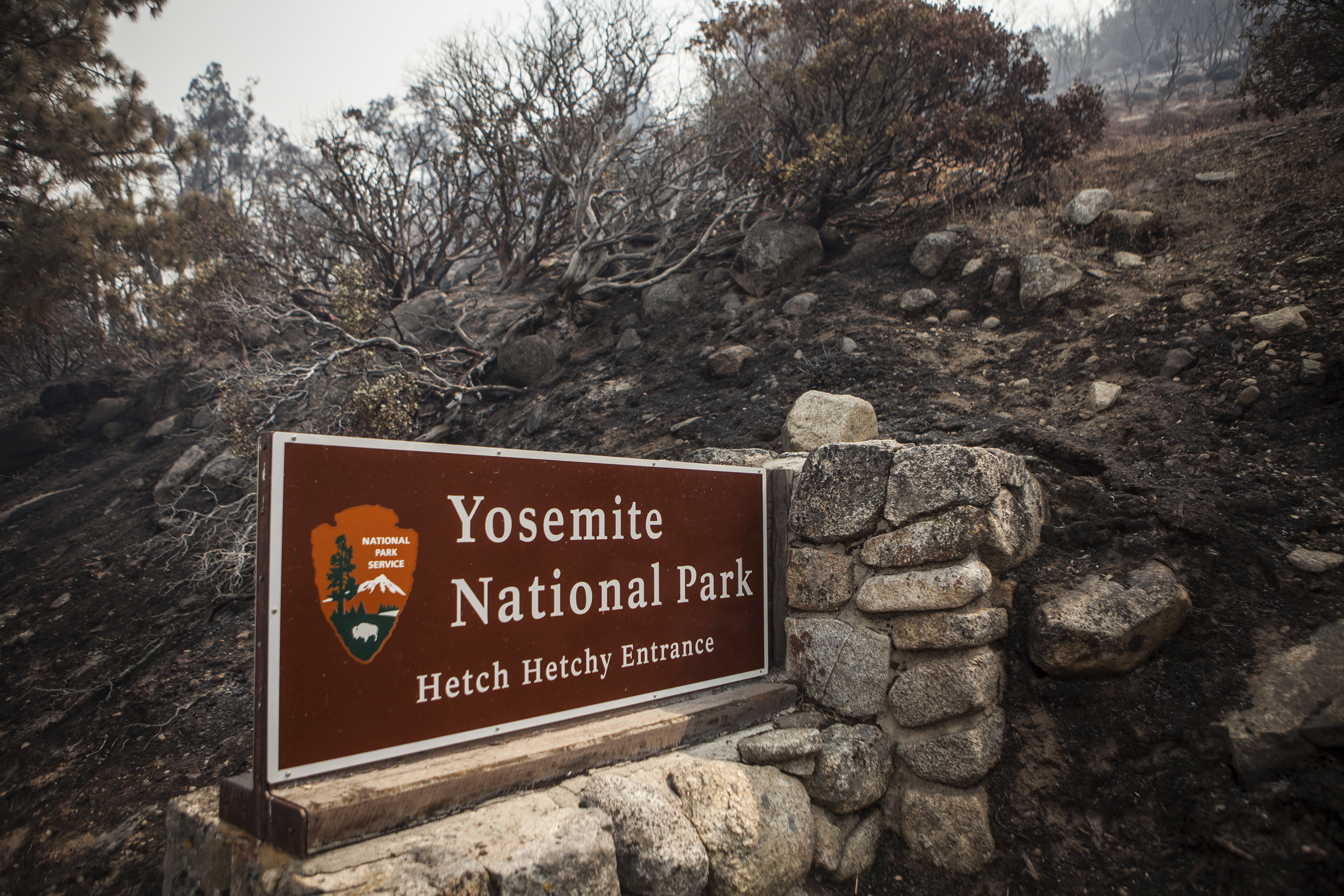 A sign on the edge of Yosemite National Park, Calif., is surrounded by a burn from the Rim Fire on August 23, 2013.