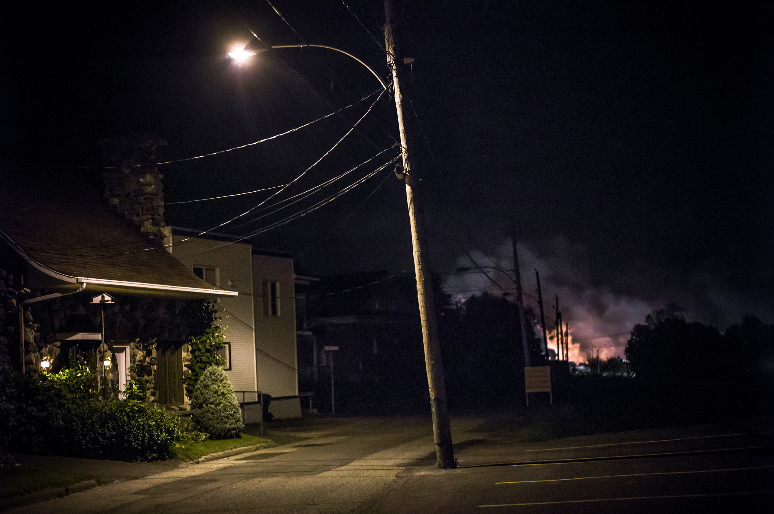 Twenty-one hours after the derailment, July 6, 2013. From the series  Post Mégantic.