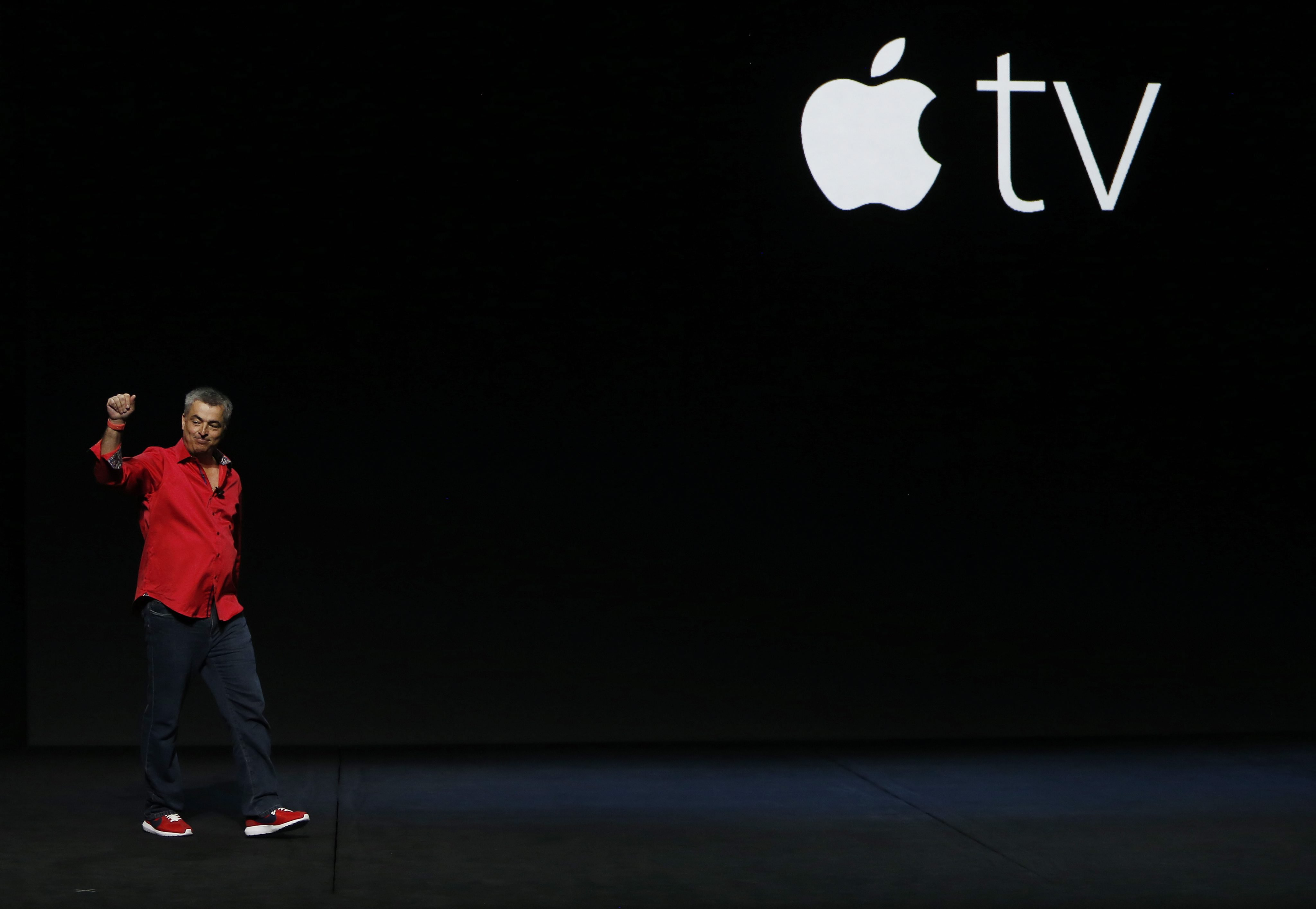 Apple Senior Vice President of Internet Software and Services Eddy Cue talks about the new Apple TV during an Apple launch event at the Bill Graham Civic Auditorium in San Francisco, on Sept. 9, 2015.