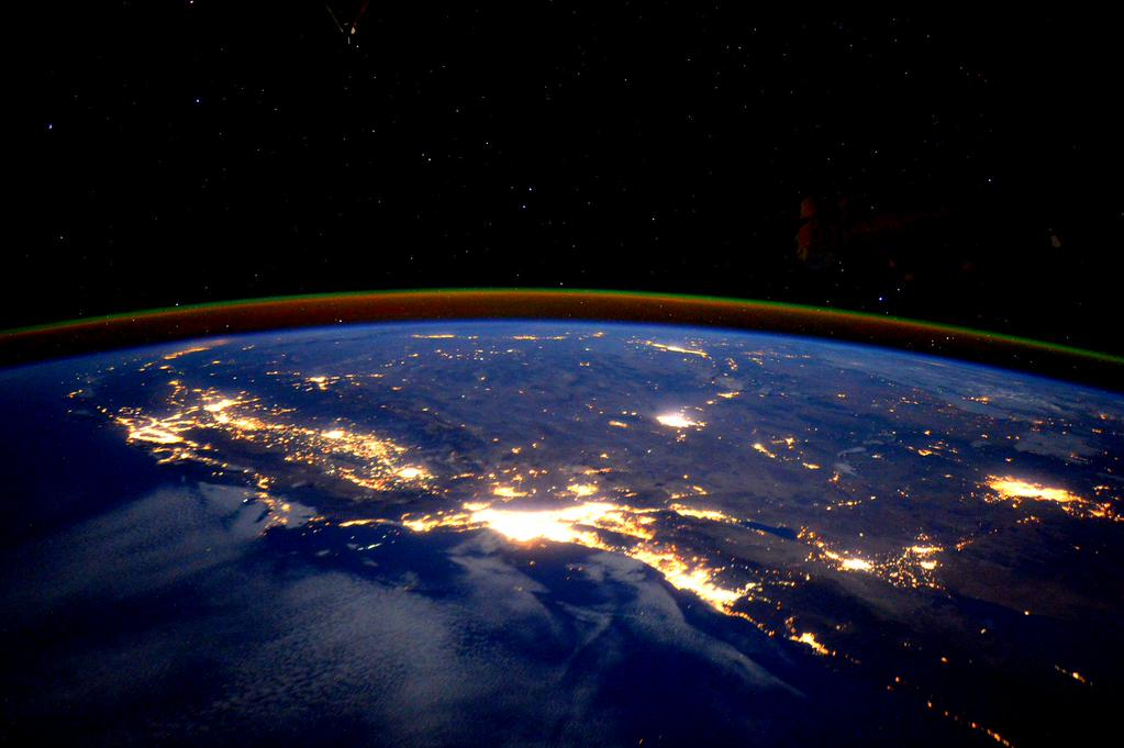 #California, your bright lights invite this morning. #GoodMorning from @Space_Station! #YearInSpace  - via Twitter on Sept. 23, 2015