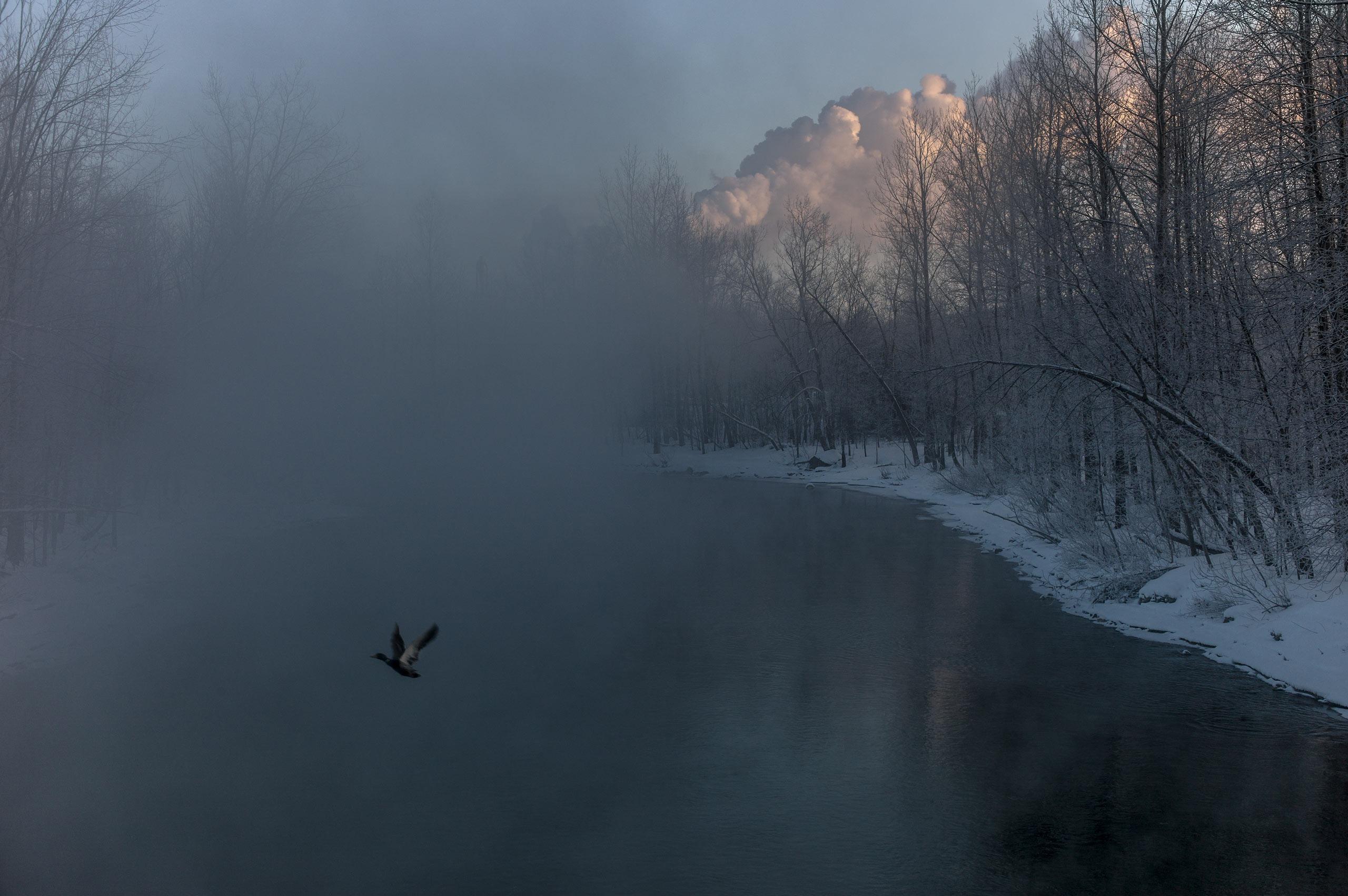 Chaudière River at sunrise, Feb. 2014.