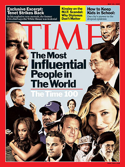 The Queen appears (near the bottom right) as a member of the TIME 100 on the May 14, 2007, cover of TIME