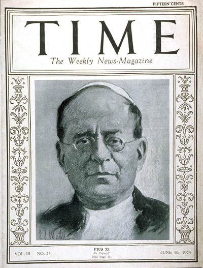Pope Pius XI on the June 16, 1924, cover of TIME