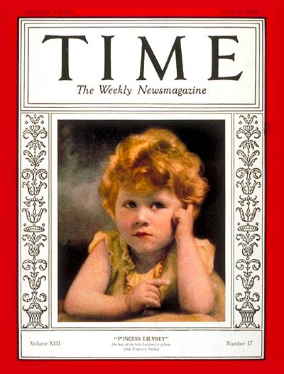 """Then-Princess """"Lilybet"""" on the Apr. 29, 1929, cover of TIME"""