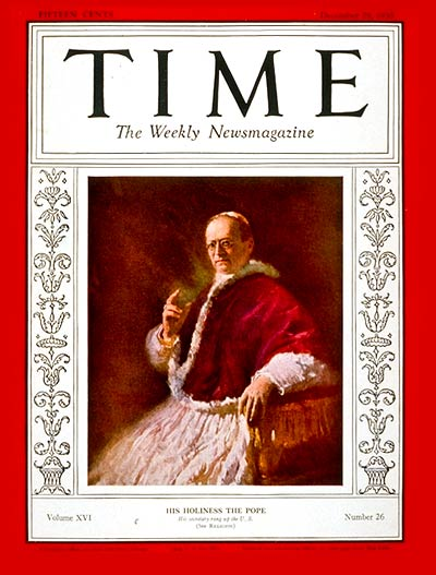 Pope Pius XI on the Dec. 29, 1930, cover of TIME