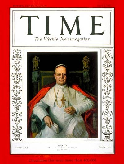 Pope Pius XI on the Apr. 3, 1933, cover of TIME