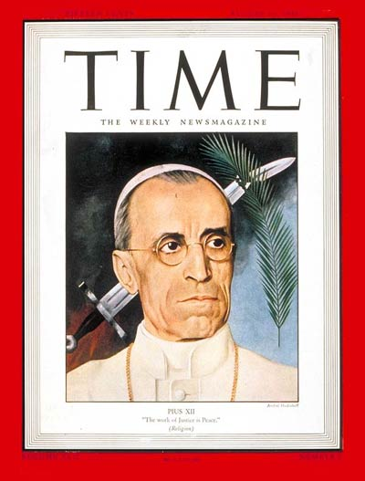 Pope Pius XII on the Aug. 16, 1943, cover of TIME