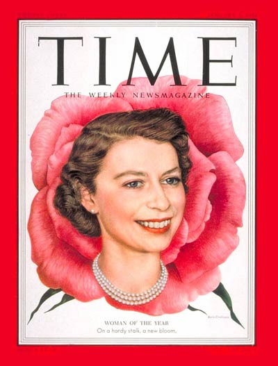 Queen Elizabeth, as Person of the Year for 1952, on the Jan. 5, 1953, cover of TIME