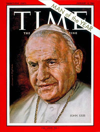 Pope John XXIII, Person of the Year, on the Jan. 4, 1963, cover of TIME