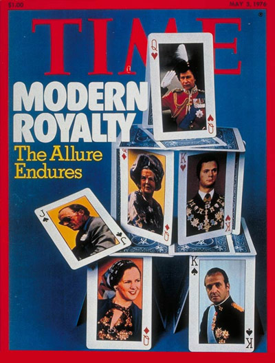 Queen Elizabeth (at top)—along with Carl XVI Gustaf of Sweden, Juan Carlos of Spain,  Margrethe of Denmark, and Bernhard and Juliana of the Netherlands—on the May 3, 1976, cover of TIME