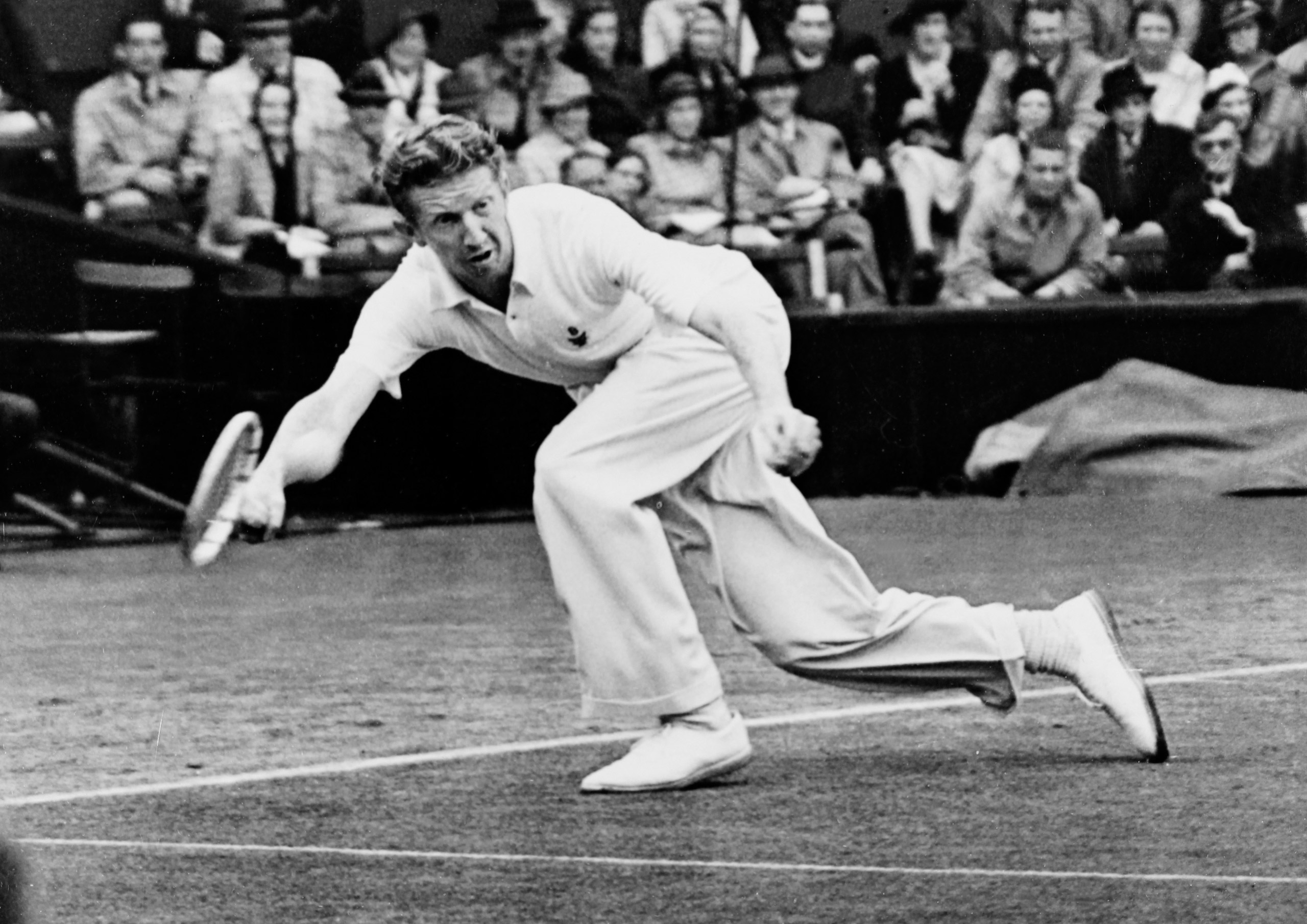 Don Budge in the first round at Wimbledon. June 28, 1938.