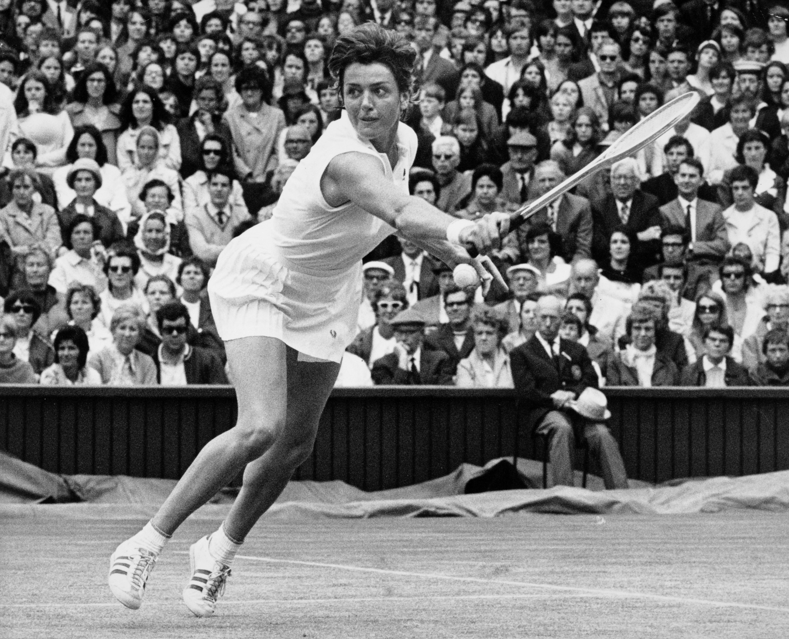Margaret Court of Australia in action at Wimbledon on June 30, 1970.