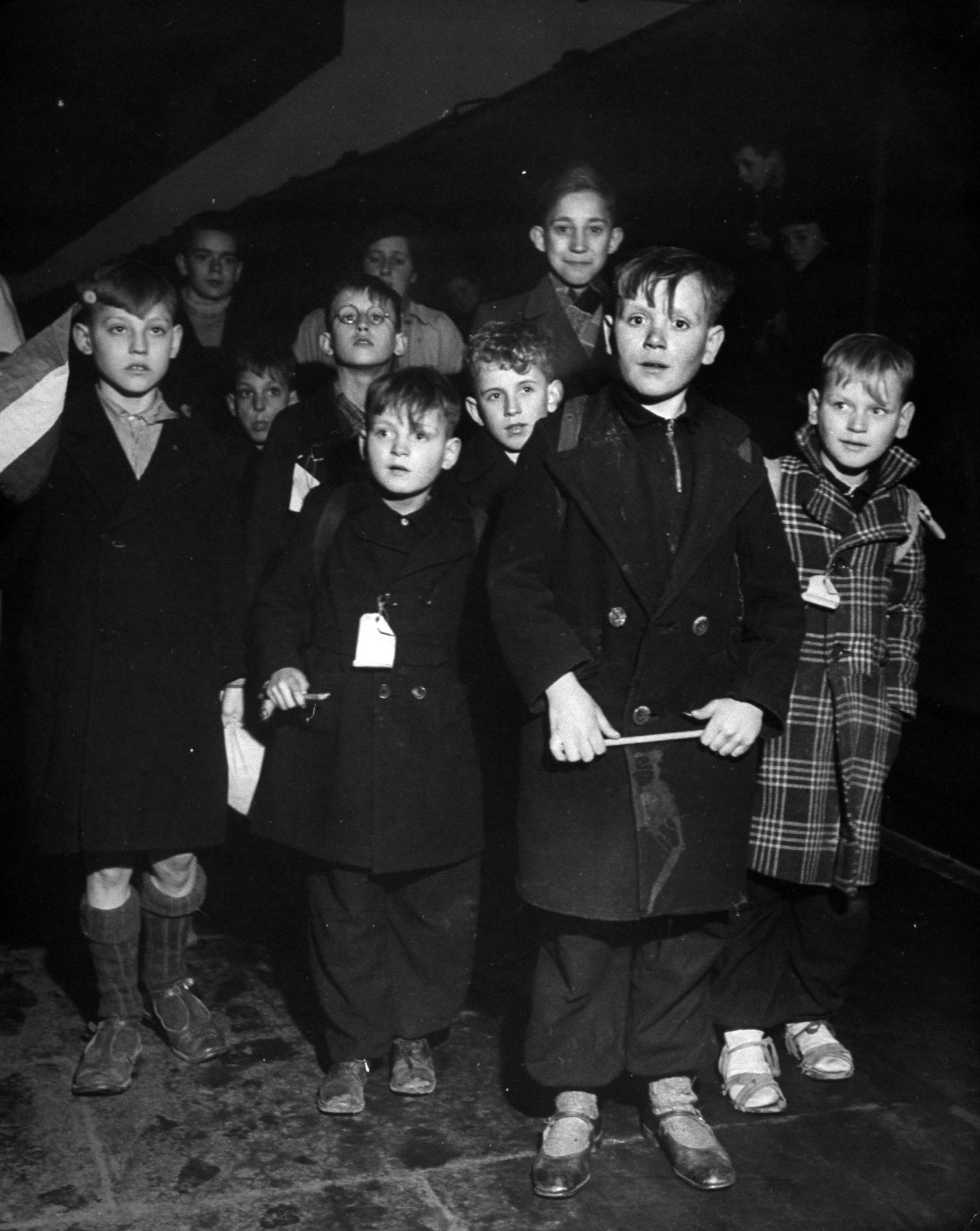 A group of Dutch refugee children arriving at Coventry Station in the U.K., in 1945.
