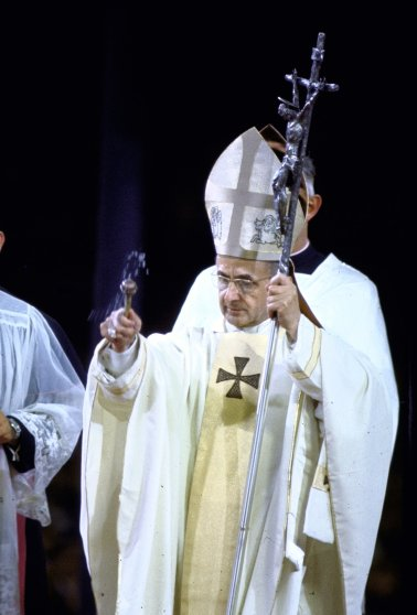 Pope Paul VI giving mass and sermon of peace at Yankee Stadium during historic visit. New York, 1965.