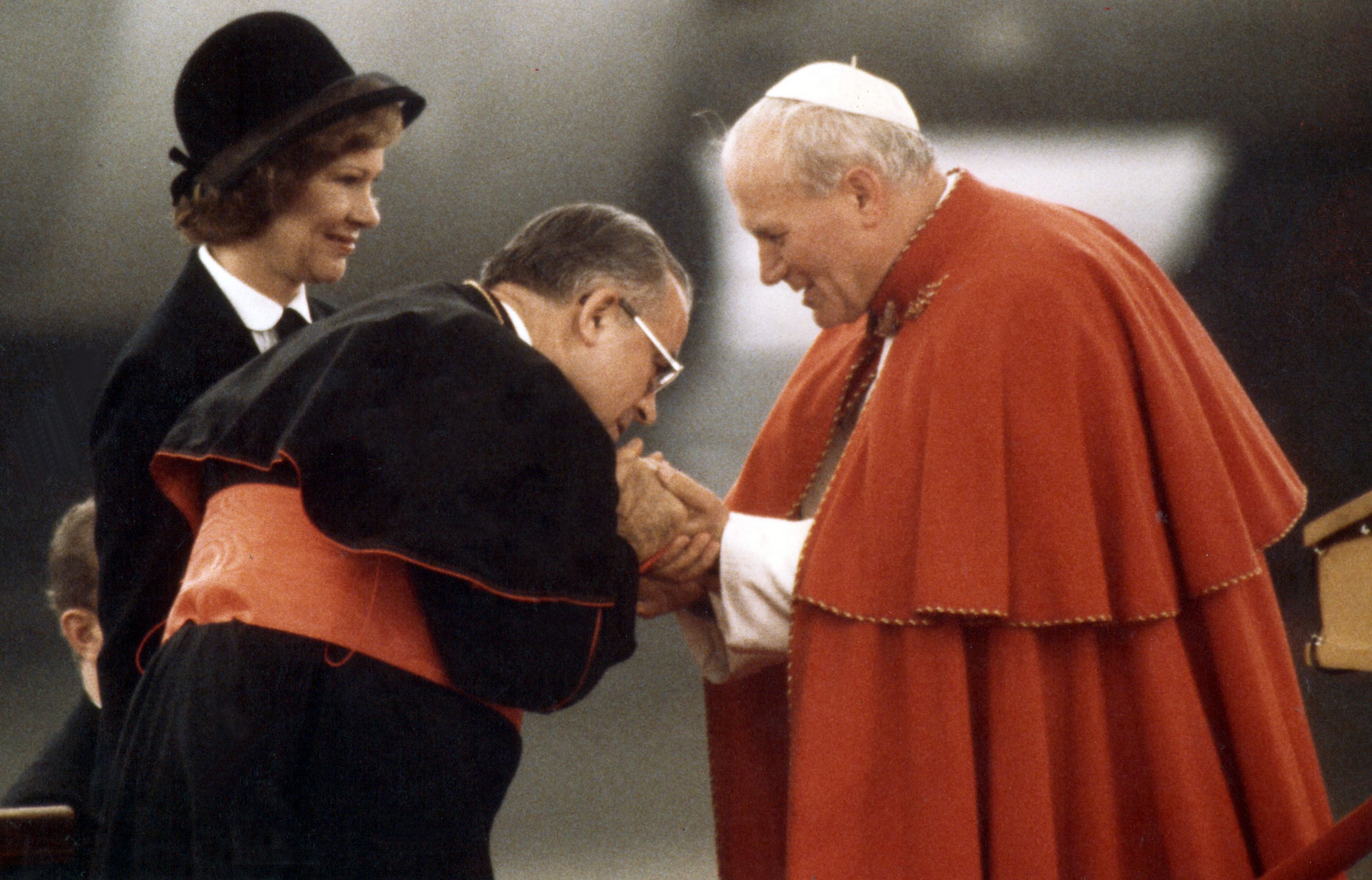 Cardinal Humberto S. Mederios and first lady Rosalyn Carter greeted Pope John Paul II on his arrival at Logan Airport. Boston, Oct. 1, 1979.