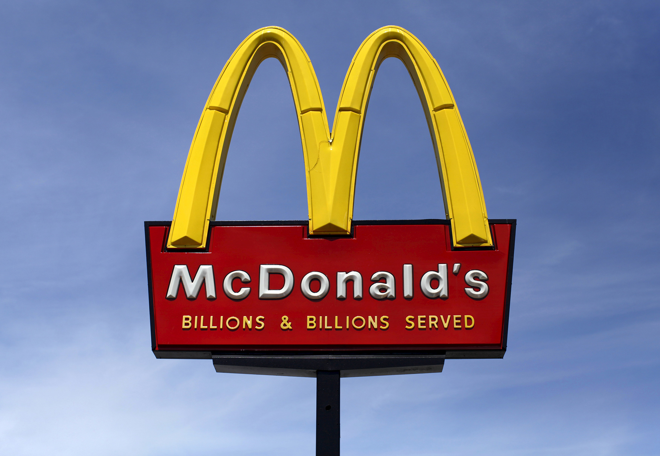 A McDonald's restaurant sign is seen in San Diego, California.
