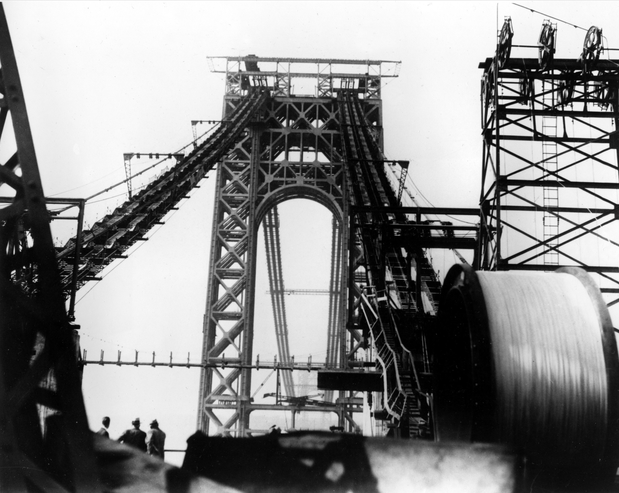 The main cable of the George Washington Bridge is being laid as construction of the suspension bridge connecting New York and New Jersey continues on Oct. 23, 1929.