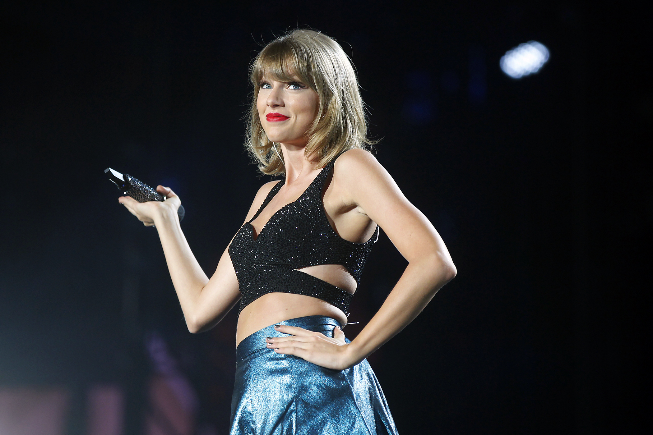 Taylor Swift performs during her 1989 World Tour at Petco Park, San Diego, California.