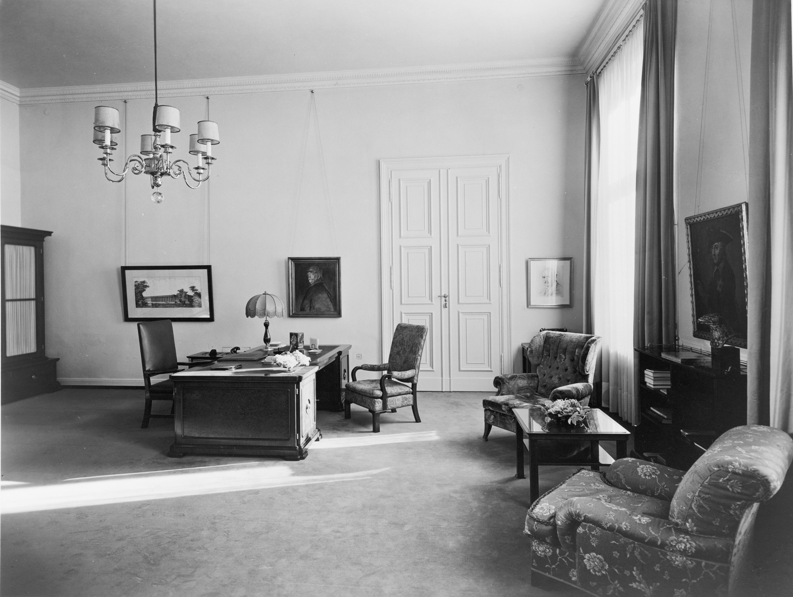 Heinrich Hoffmann, photograph of Hitler's private study on the second floor of the Old Chancellery in Berlin after the 1934 renovation by the Atelier Troost.