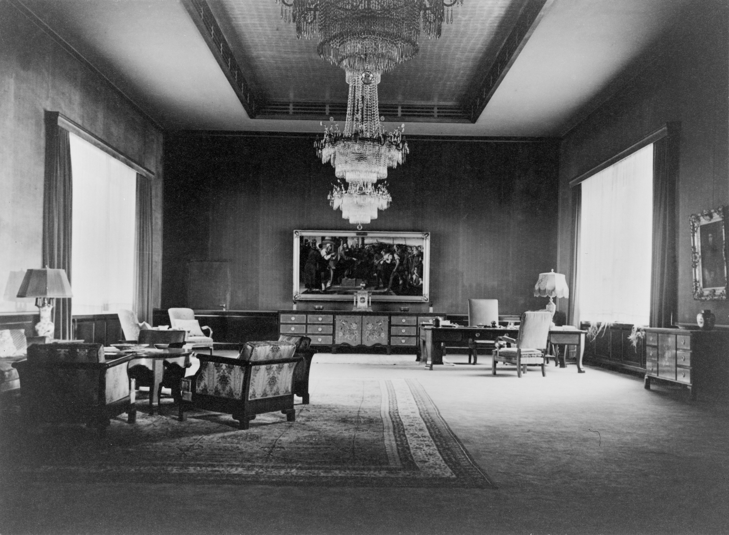 Heinrich Hoffmann, photograph of Hitler's Ceremonial Office on the second floor of the modernist building annex to the Old Chancellery in Berlin after the renovation of the former Red Room by the Atelier Troost, c. 1935.  This office preceded the more famous and monumental formal office designed in 1939 for the New Chancellery by Albert Speer.
