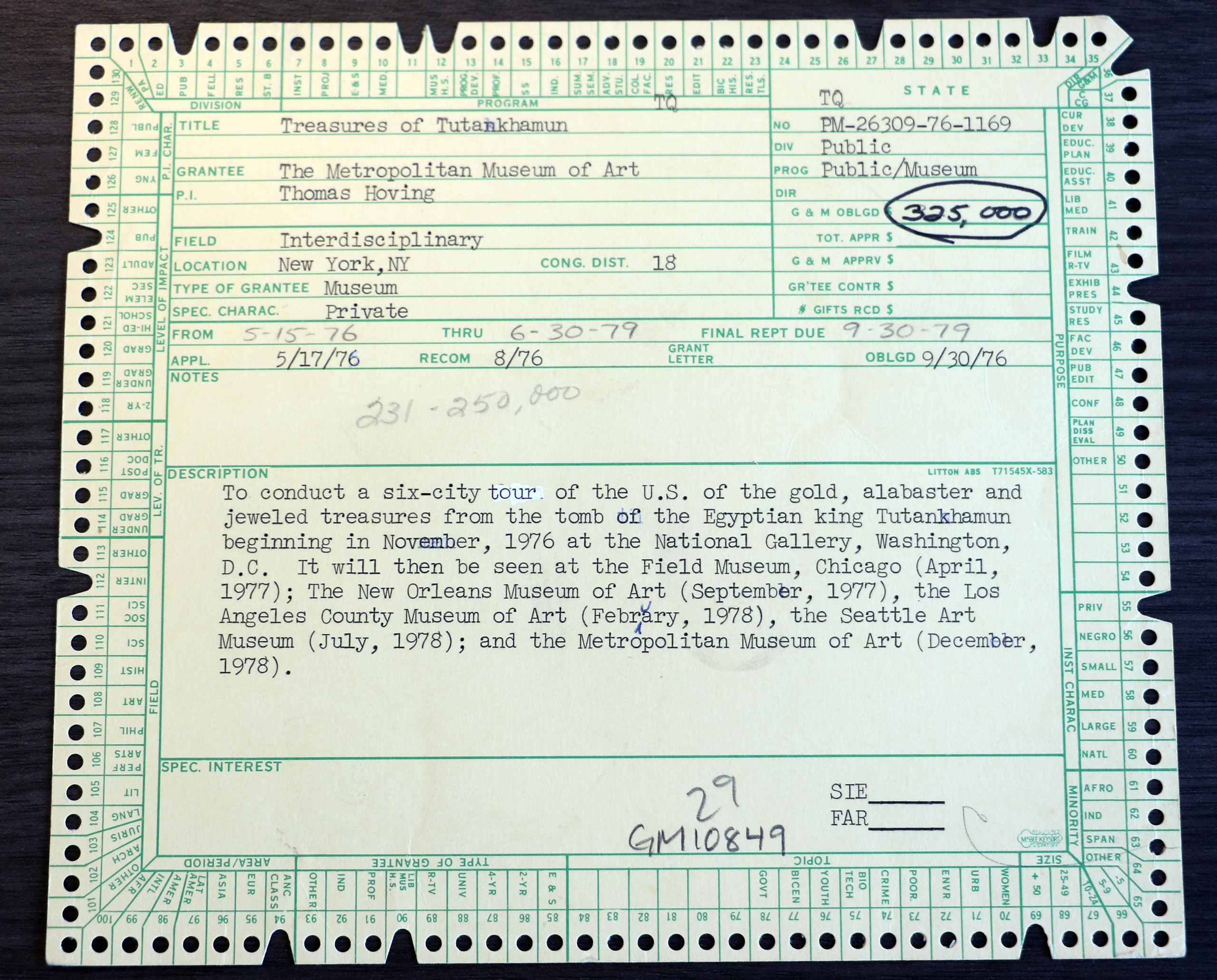 The 1976 Grant that brought the blockbuster  Treasures of Tutankhamun  exhibit to six American cities.