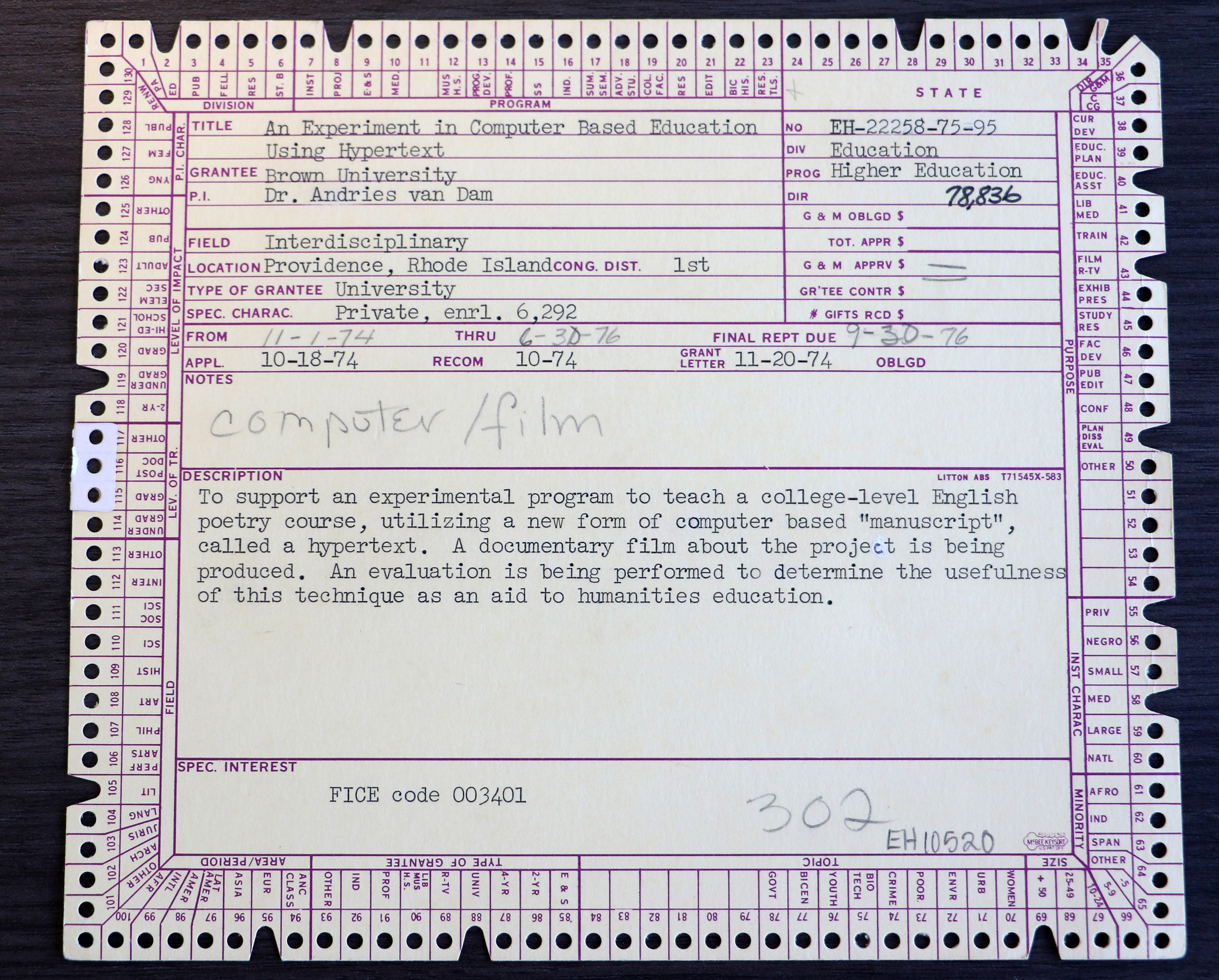 A 1974 Education grant to Dr. Andries van Dam at Brown University: An Experiment in Computer Based Education Using Hypertext.