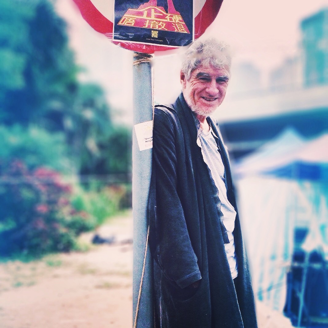 "Christopher Doyle at the Hong Kong protests, December 2014. ""I've accepted that I might never work in China again."""