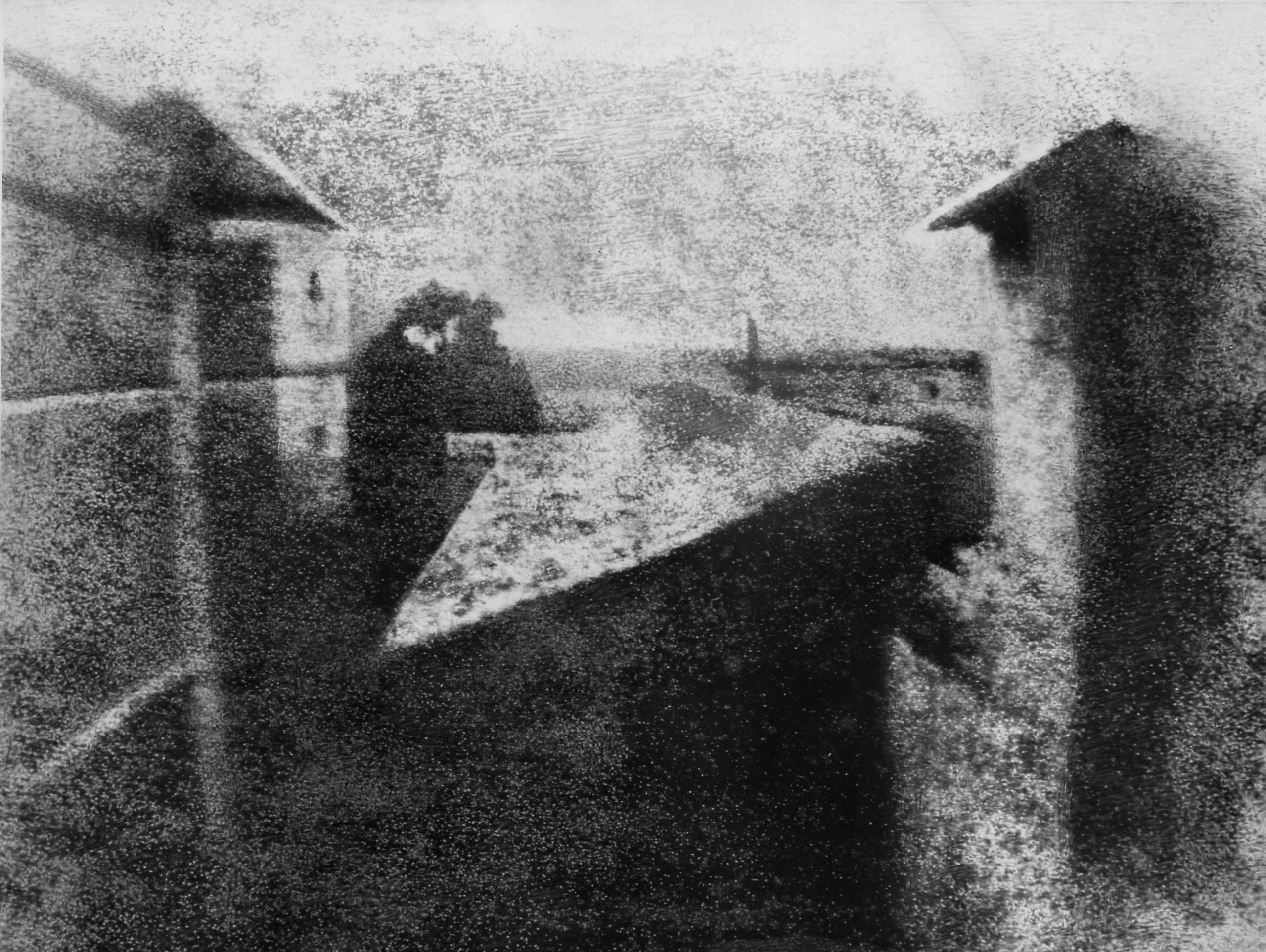 View from the Window at Le Gras by Joseph Nicéphore Niépce, 1826.