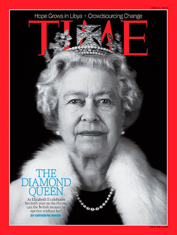 Queen Elizabeth on the  June 4, 2012, cover of TIME's Europe edition, marking her Diamond Jubilee