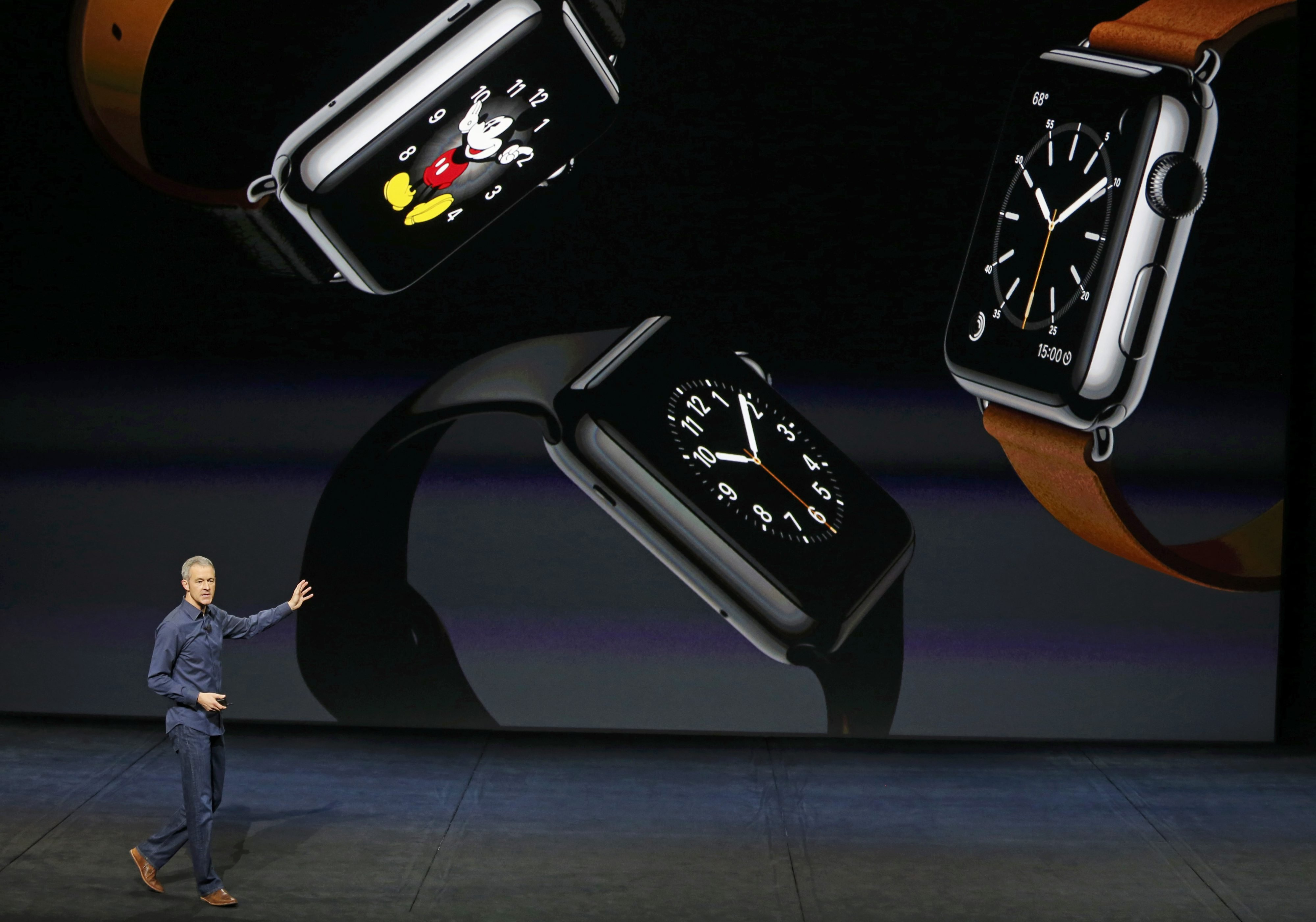 Jeff Williams Apple's senior vice president of Operations, speaks about new finishes for the Apple Watch during an Apple media event in San Francisco, on Sept. 9, 2015.