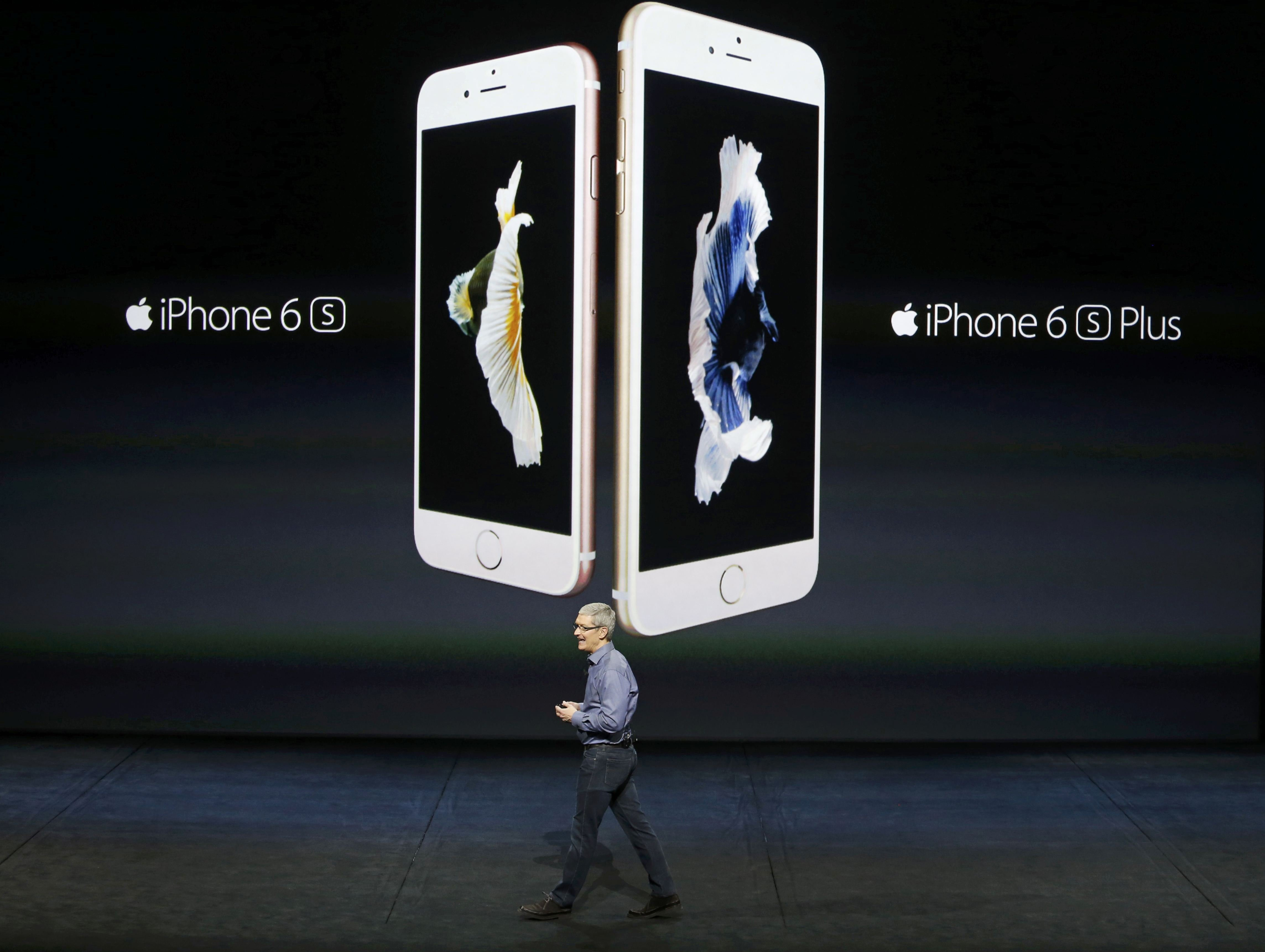 Apple CEO Tim Cook introduces the iPhone 6s and iPhone 6sPlus during an Apple media event in San Francisco, on Sept. 9, 2015.
