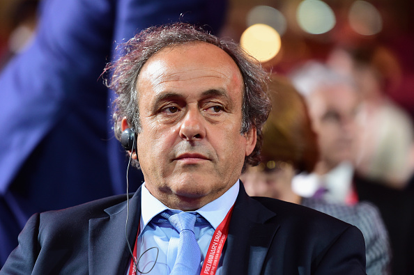 President of UEFA Michel Platini attends the Preliminary Draw of the 2018 FIFA World Cup in Russia at The Konstantin Palace on July 25, 2015 in Saint Petersburg, Russia