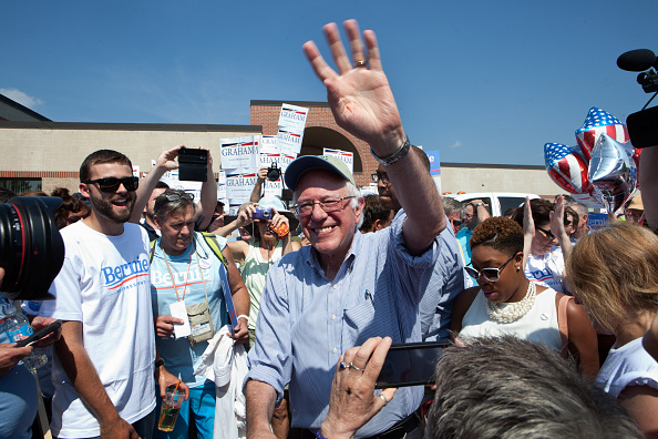 Bernie Sanders greets supporters at the Labor Day Parade in Milford, N.H., on Sept. 7, 2015