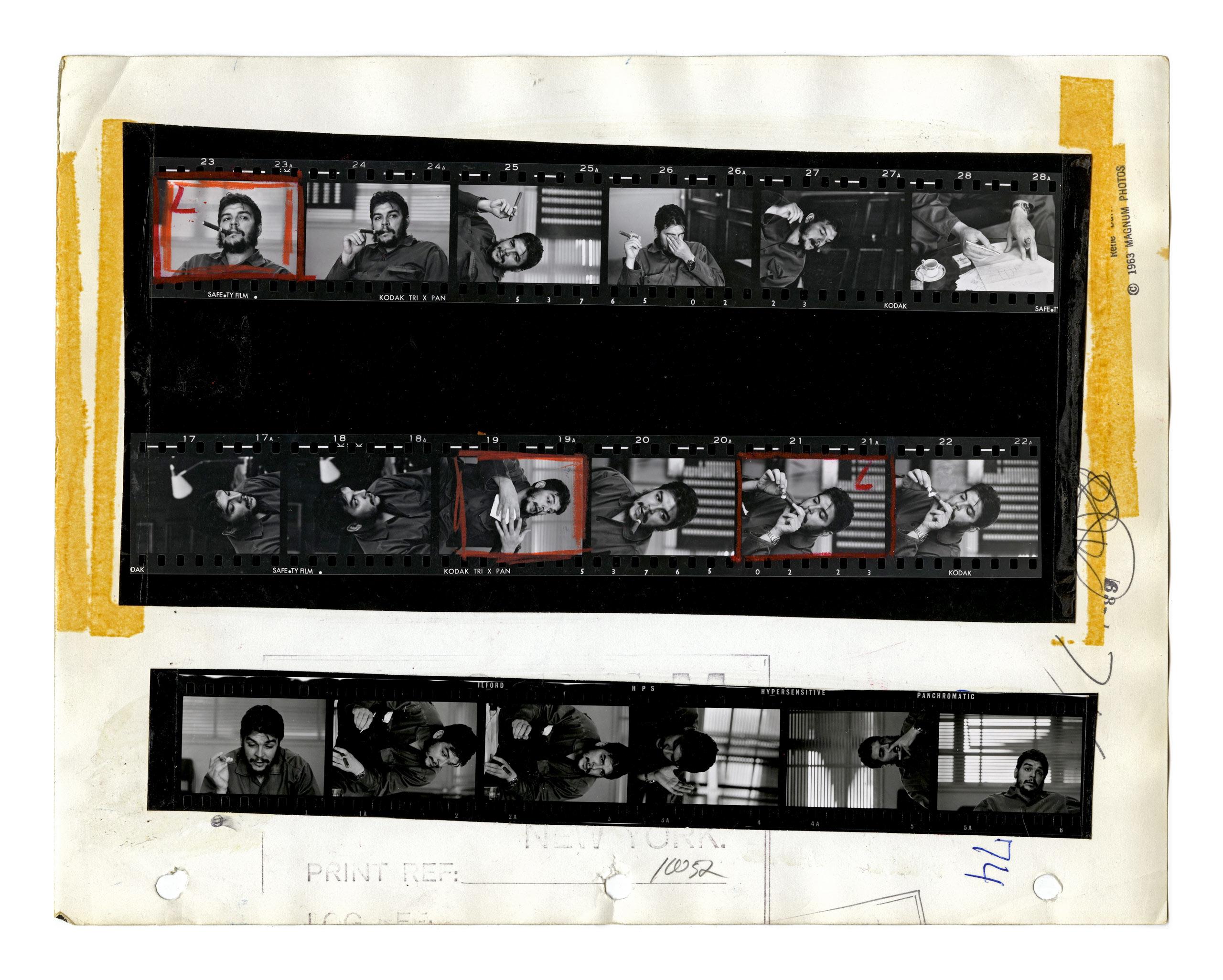 Contact Sheet. Ernesto 'Che' Guevara. Havana, Cuba. 1963.