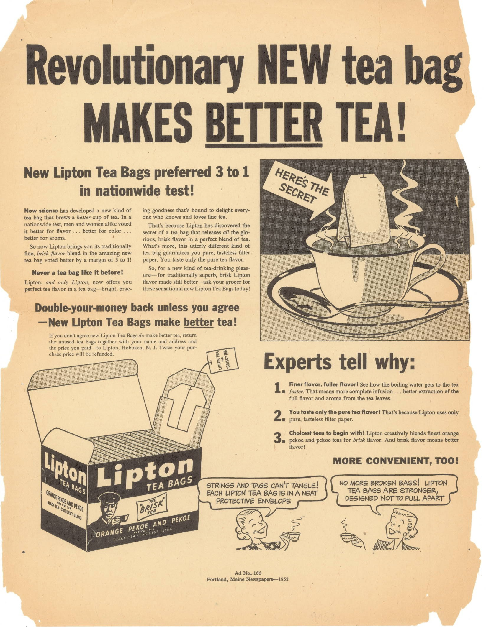 A Lipton ad for the first Flo-Thru bag in 1952