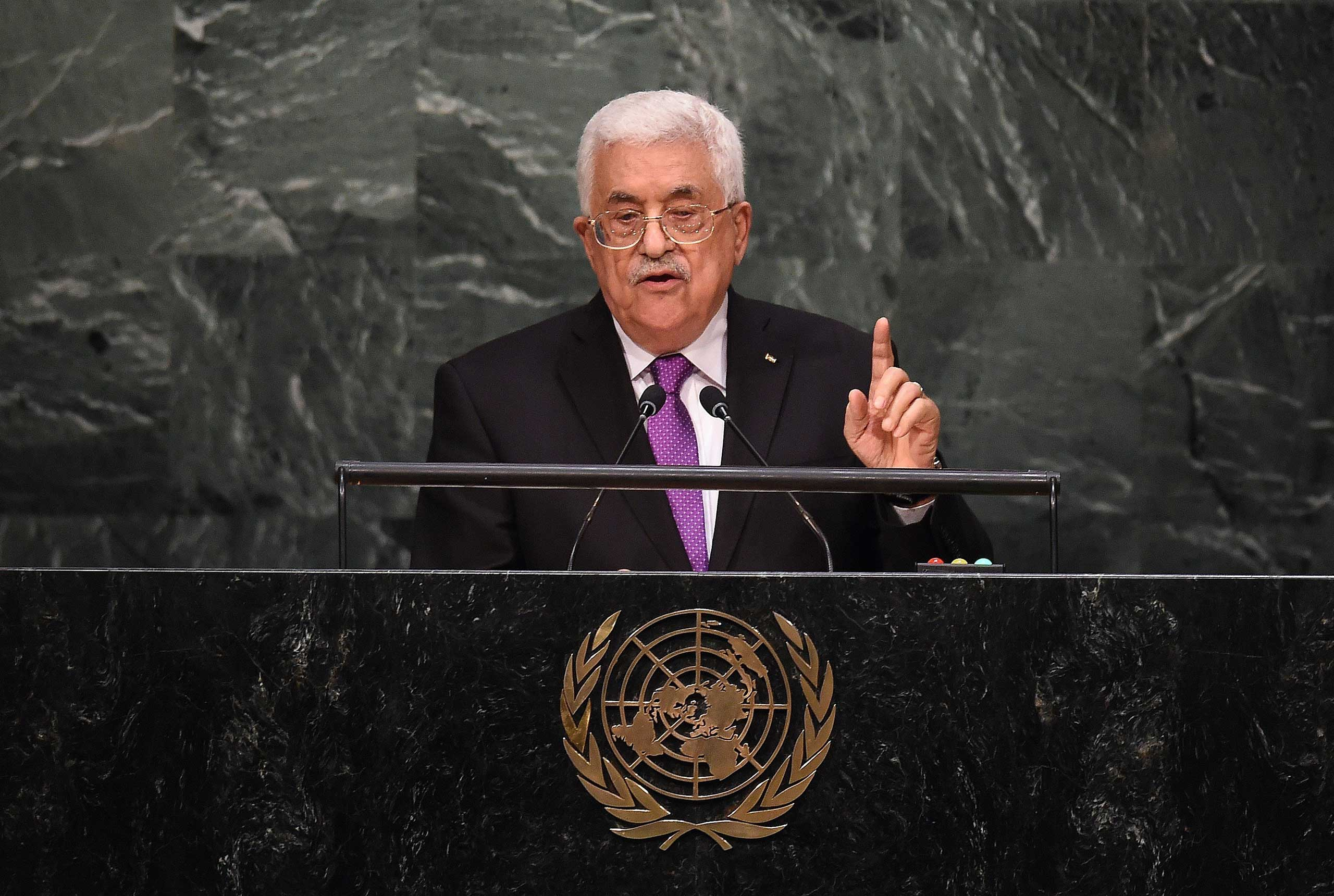 Palestinian Authority president Mahmoud Abbas addresses the 70th Session of the United Nations General Assembly at the UN in New York on Sept. 30, 2015.