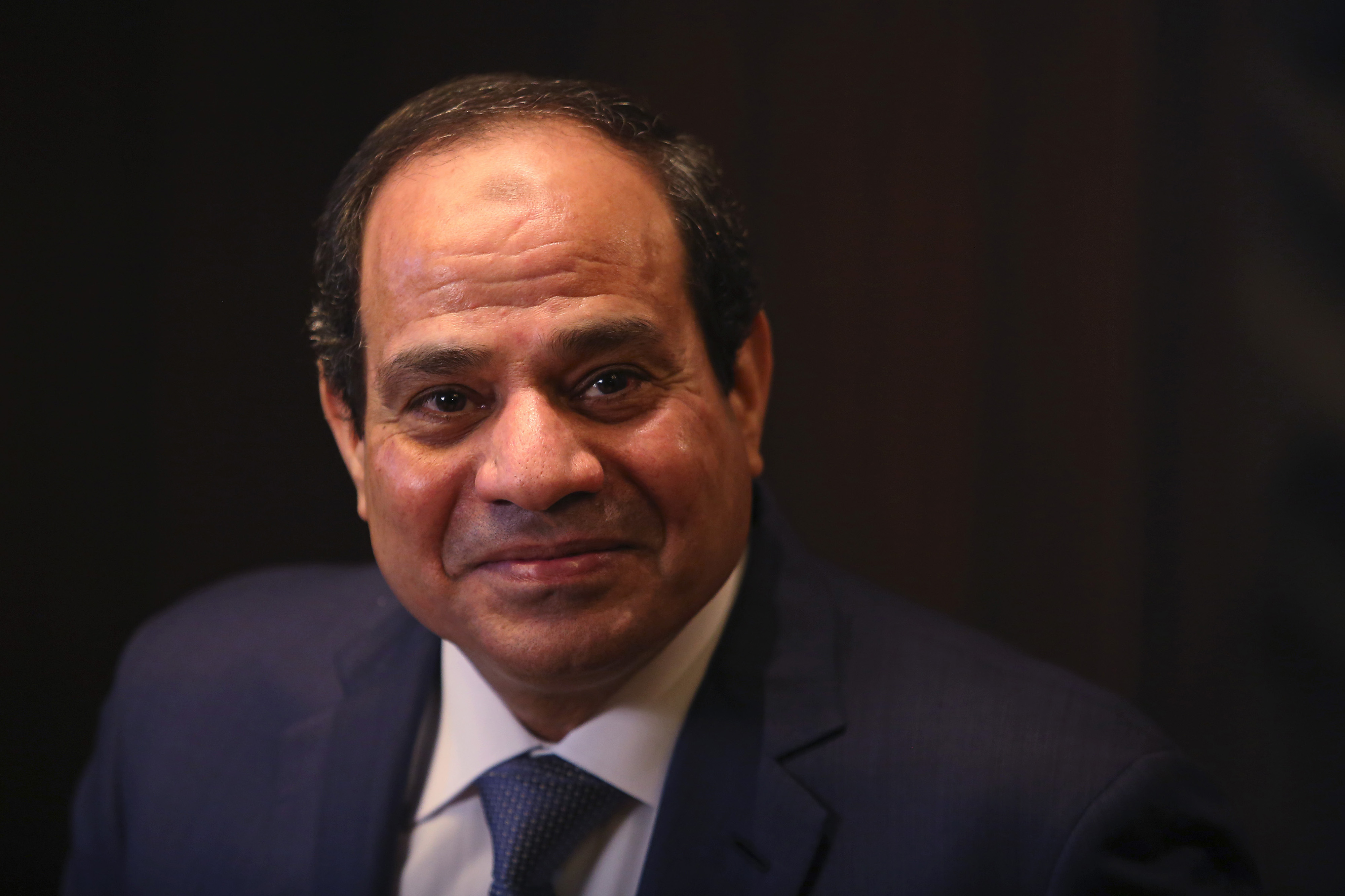 Abdel-Fattah El-Sisi, Egypt's president, pauses during a Bloomberg Television interview on day two of the World Economic Forum (WEF) in Davos, Switzerland, on Jan. 22, 2015.