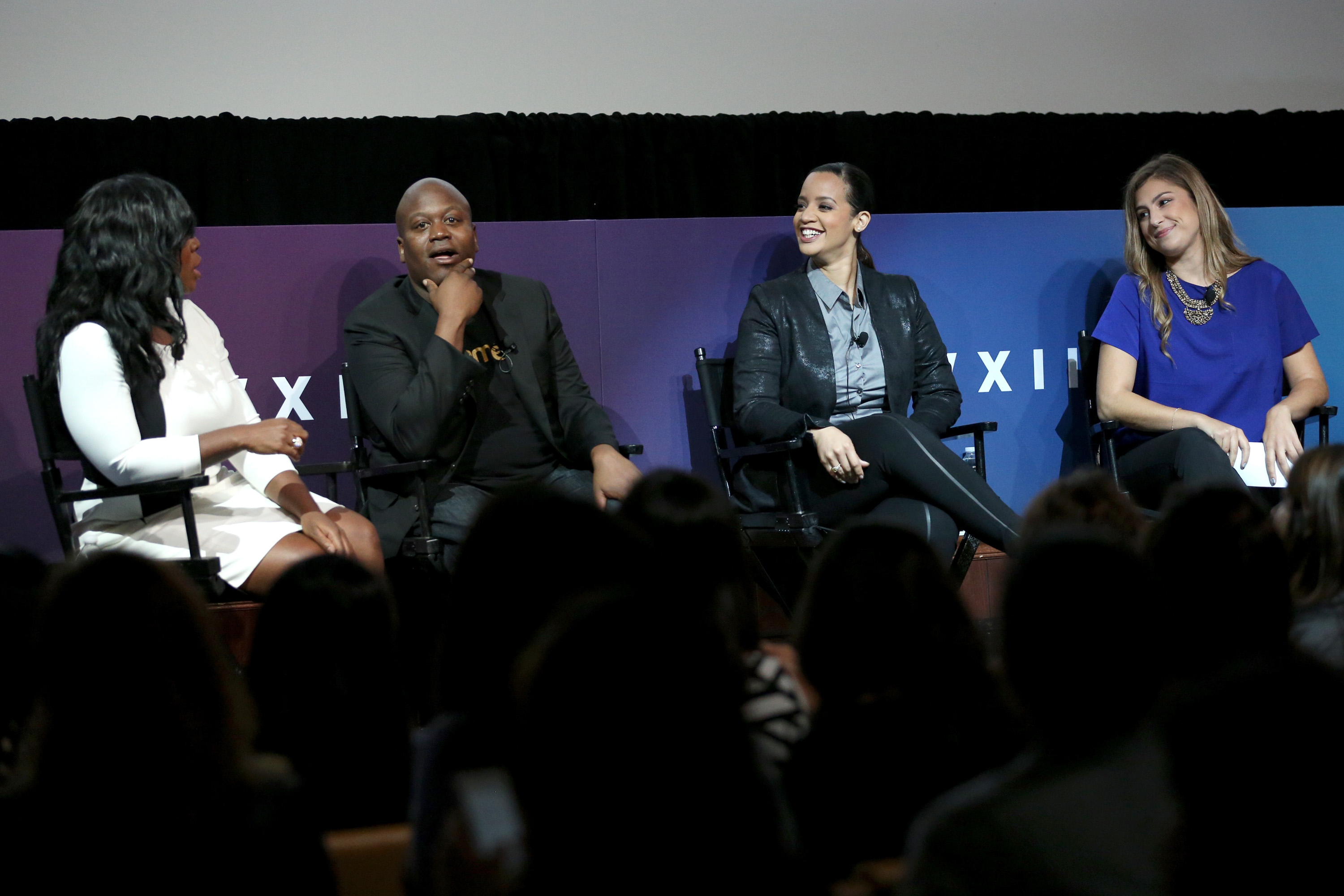 Actors Uzo Aduba, Tituss Burgess and Dascha Polanco speak on a panel moderated by WhoSay Editorial Director Kirstin Benson during Advertising Week 2015 on September 29, 2015 in New York City.