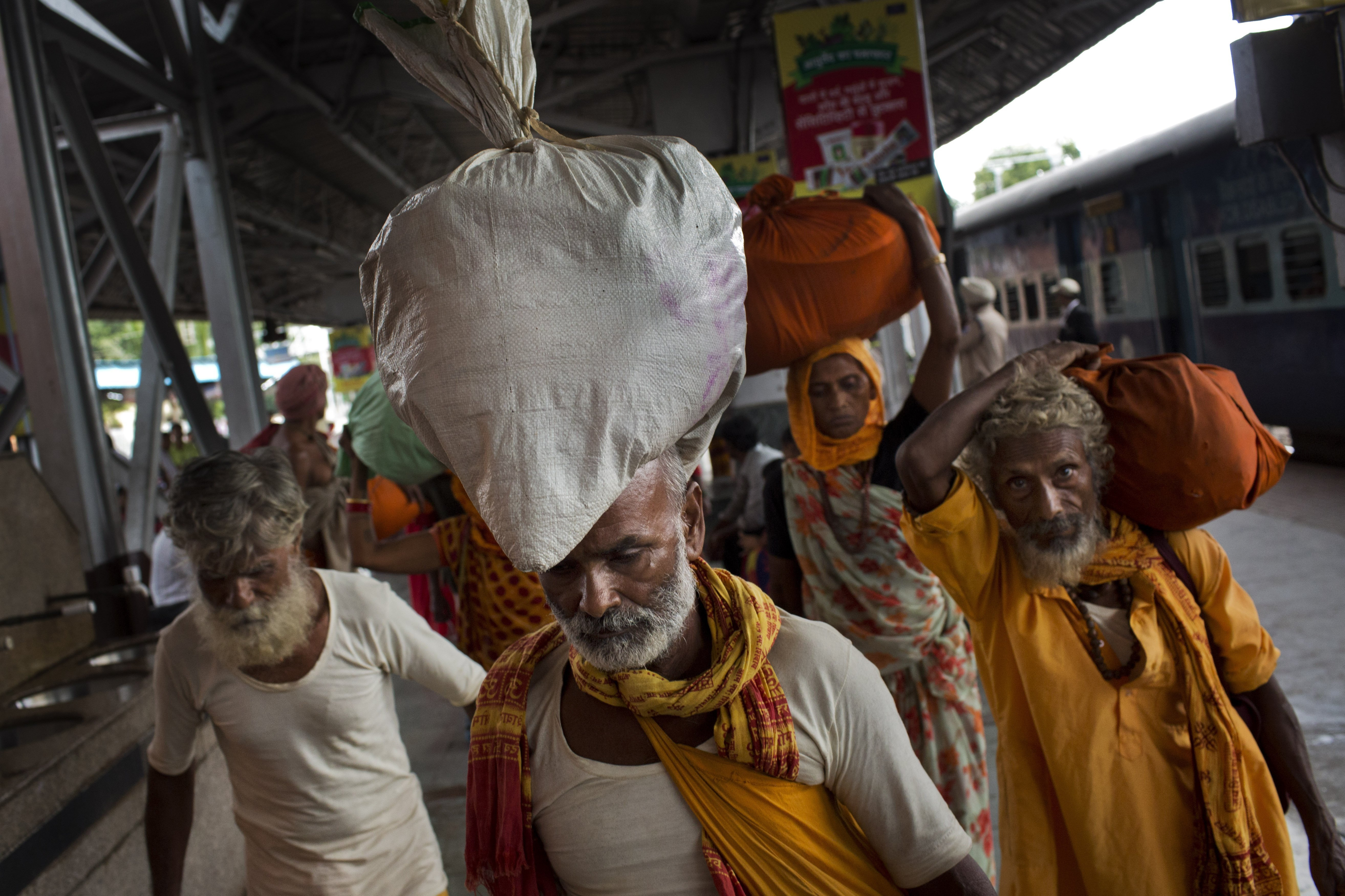 Hindu pilgrims arrive at a train station in Nasik, India, on Aug. 28, 2015.