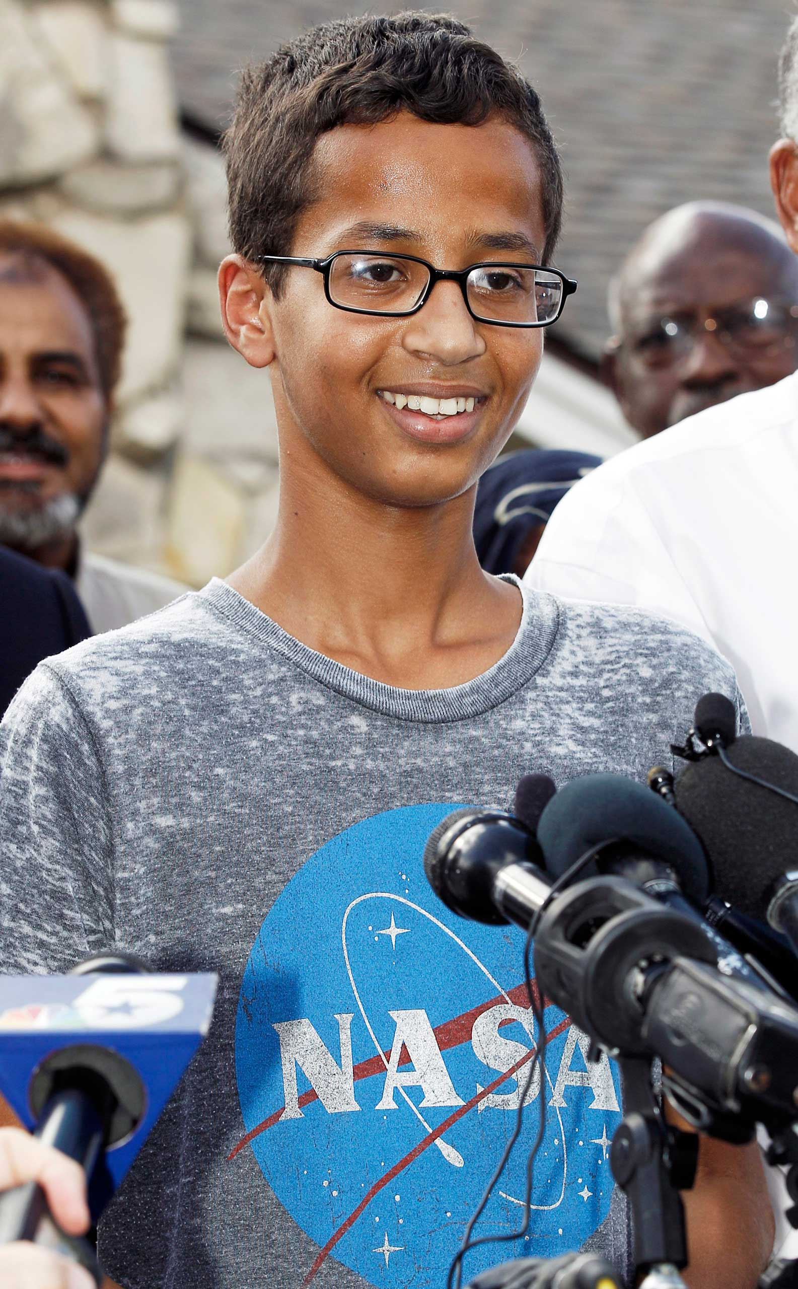 Ahmed Mohamed, 14, thanks supporters during a news conference at his home, in Irving, Texas, on Sept. 16, 2015